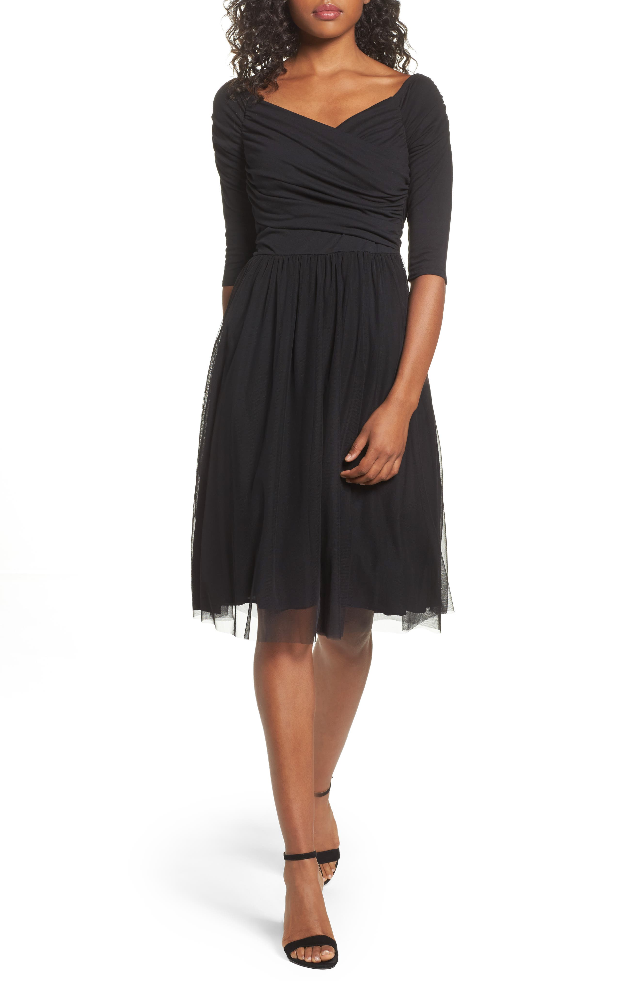 Tulle Fit & Flare Dress,                         Main,                         color, Black