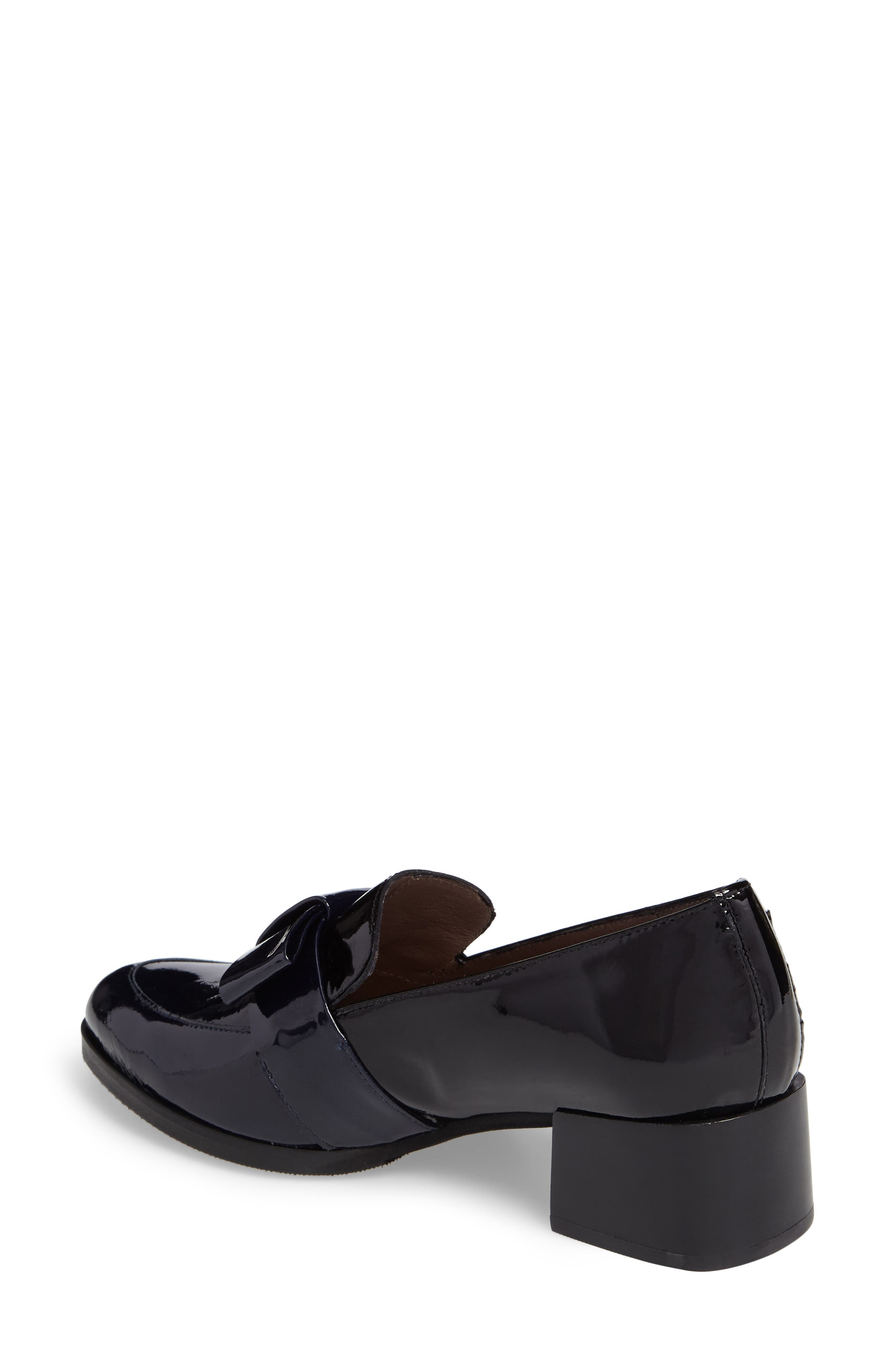 Block Heel Loafer Pump,                             Alternate thumbnail 2, color,                             Navy/ Black Patent Leather