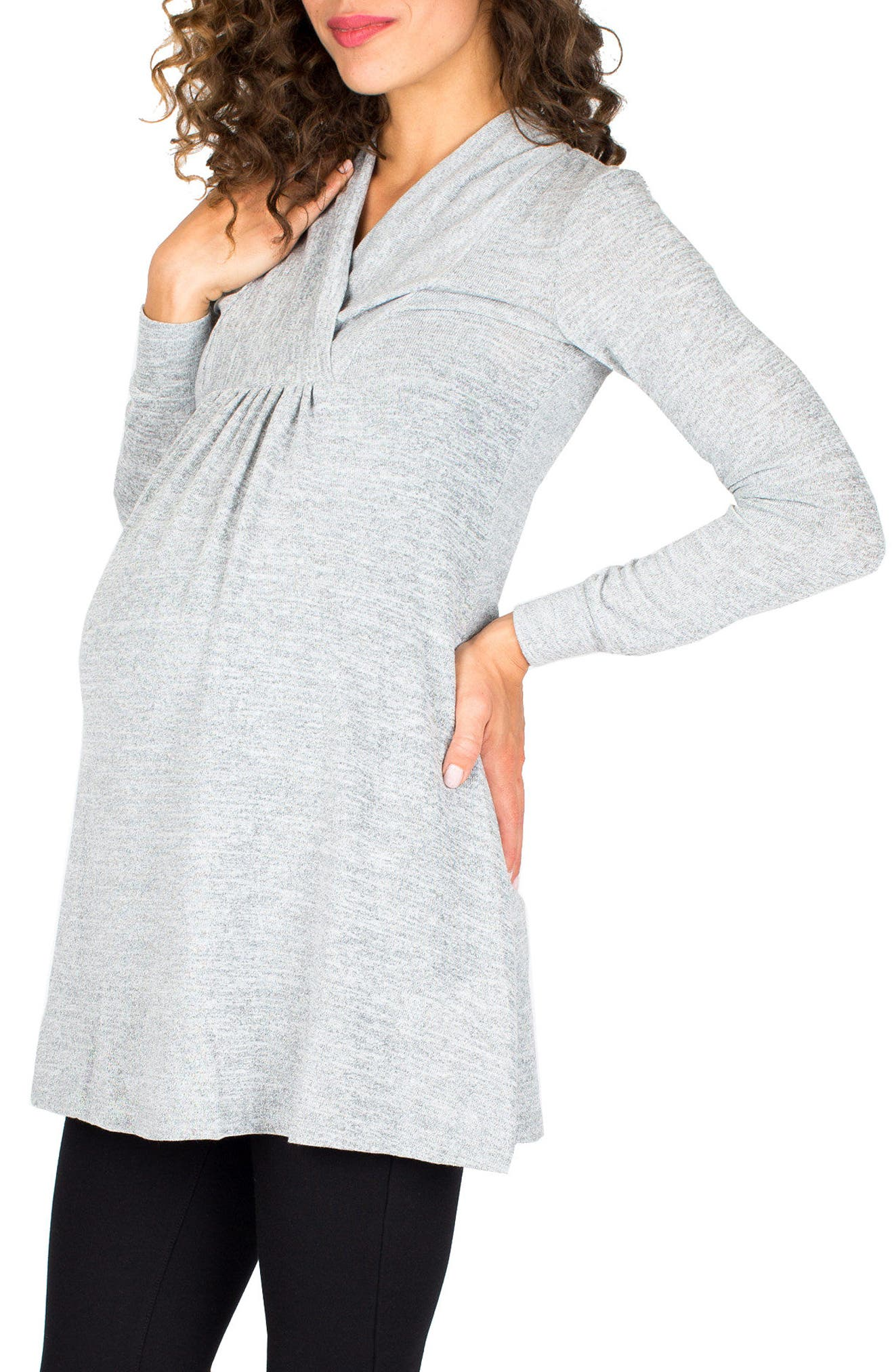 'Tanya' Jersey Maternity Tunic,                             Alternate thumbnail 3, color,                             Cloud