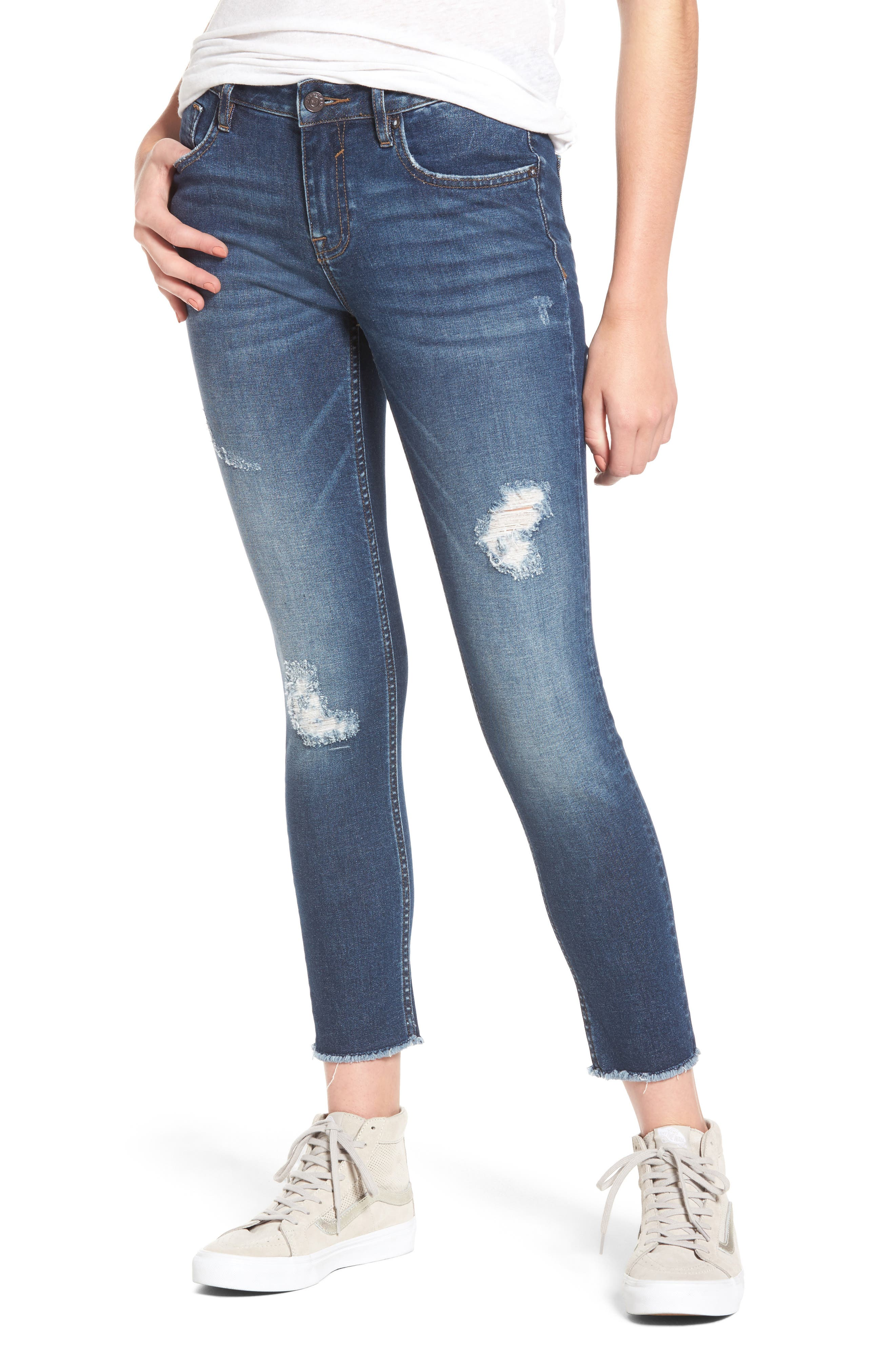 Whatever Distressed Ankle Skinny Jeans,                         Main,                         color, Medium Wash