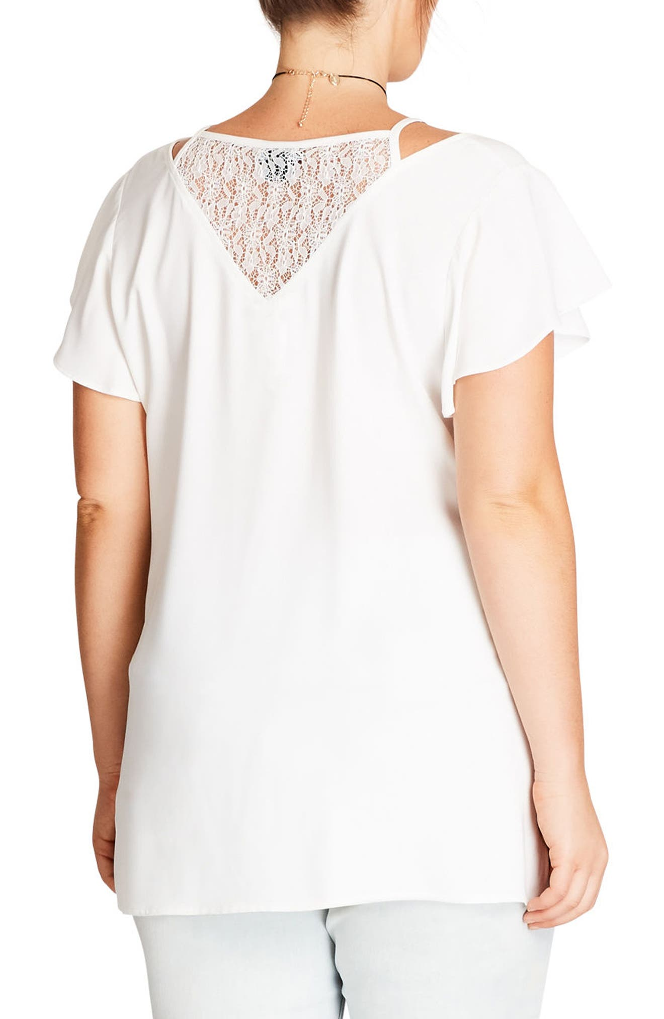 Lace Inset Top,                             Alternate thumbnail 2, color,                             Ivory