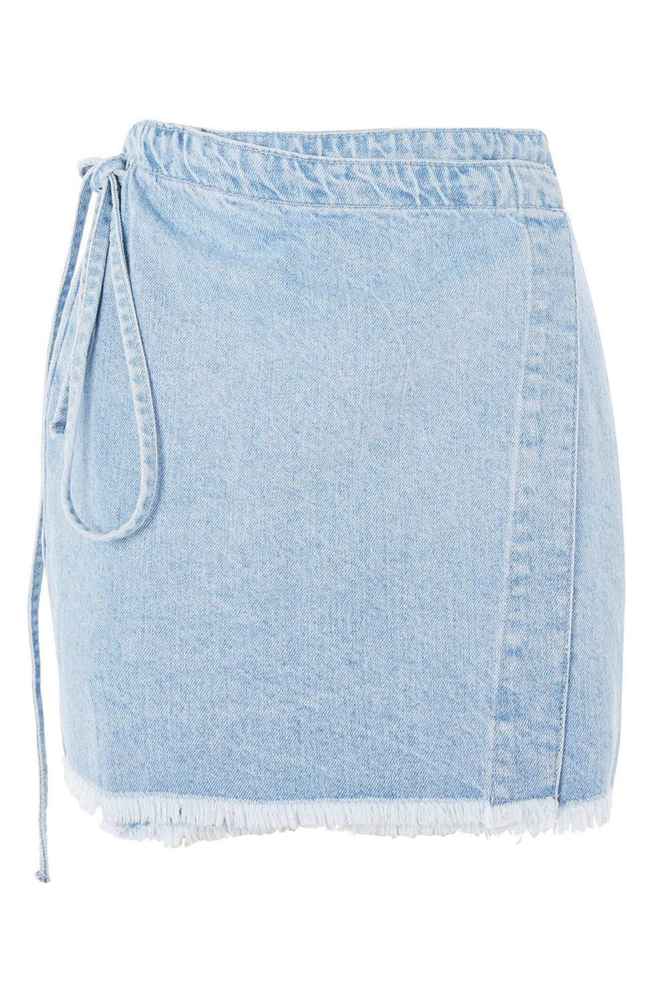 Tie Wrap Denim Skirt,                             Alternate thumbnail 4, color,                             Light Denim