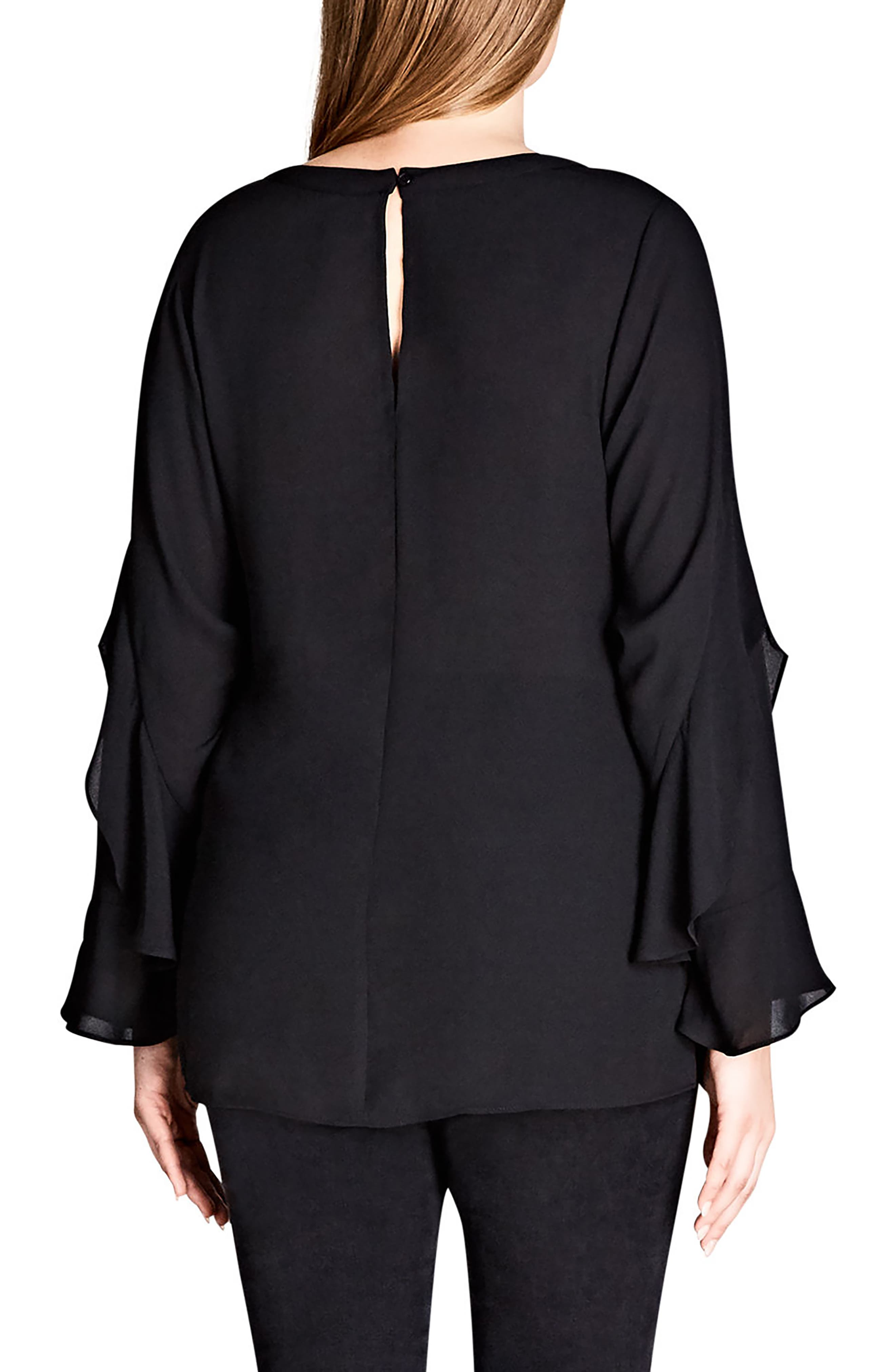 Frill Me Layered Sleeve Woven Top,                             Alternate thumbnail 2, color,                             Black