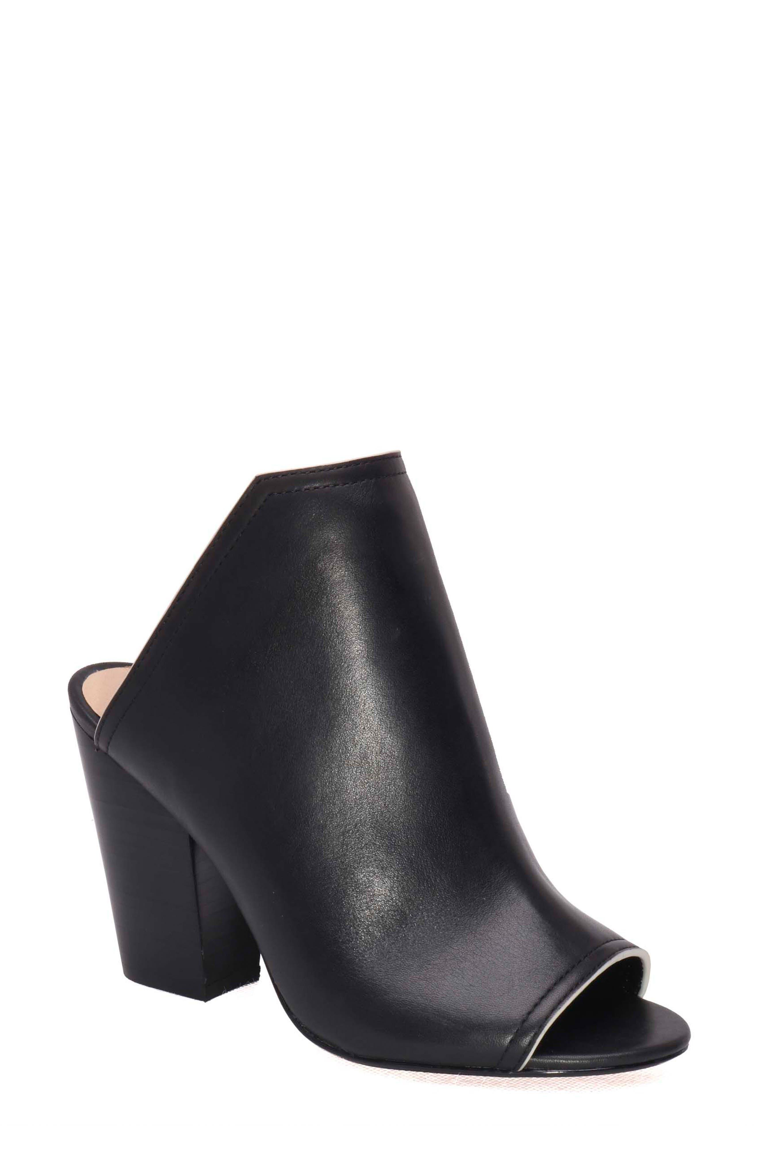 Honor Open Toe Mule,                             Main thumbnail 1, color,                             Black Leather