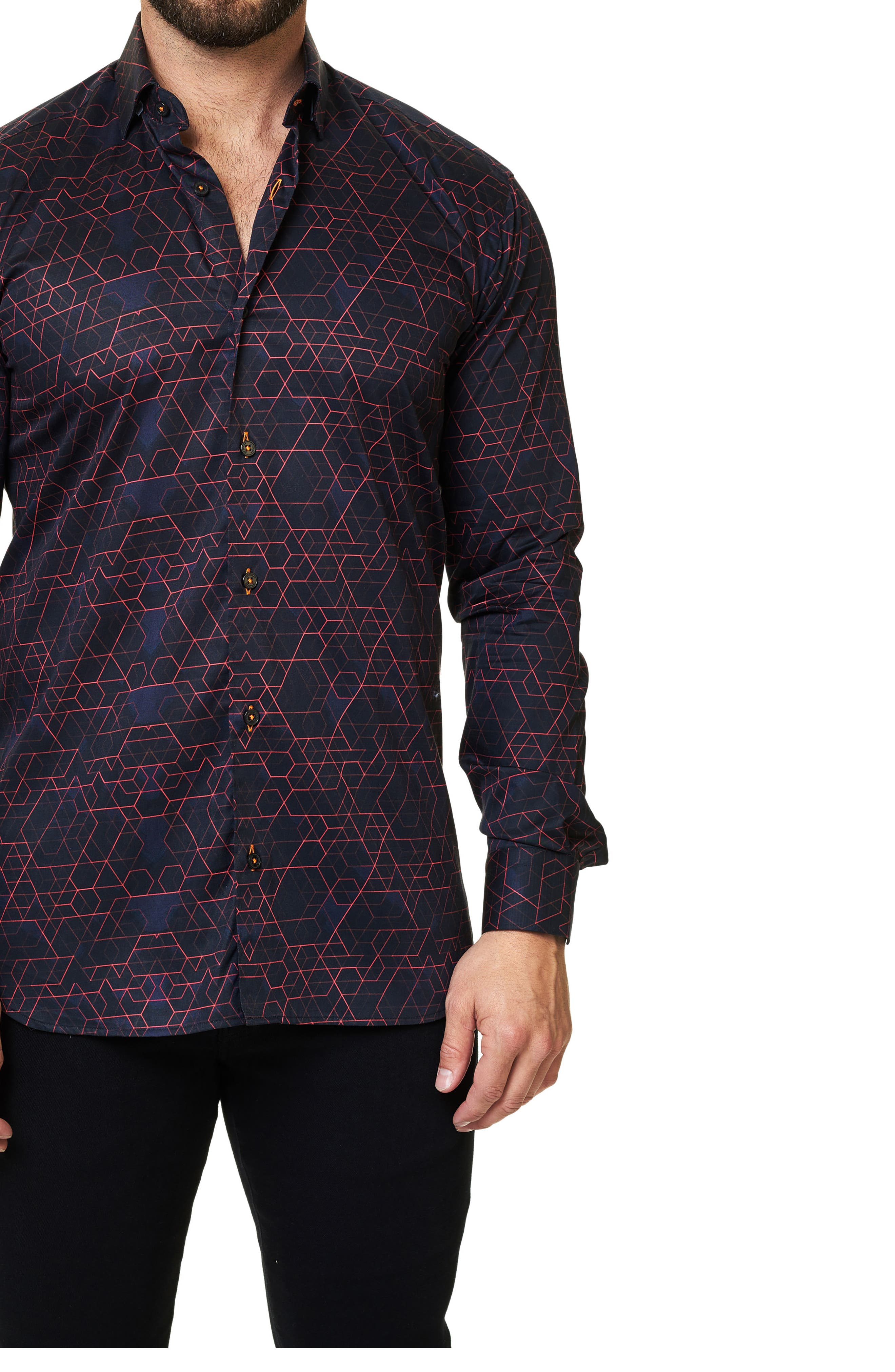 Trim Fit Geo Print Sport Shirt,                             Alternate thumbnail 3, color,                             Black