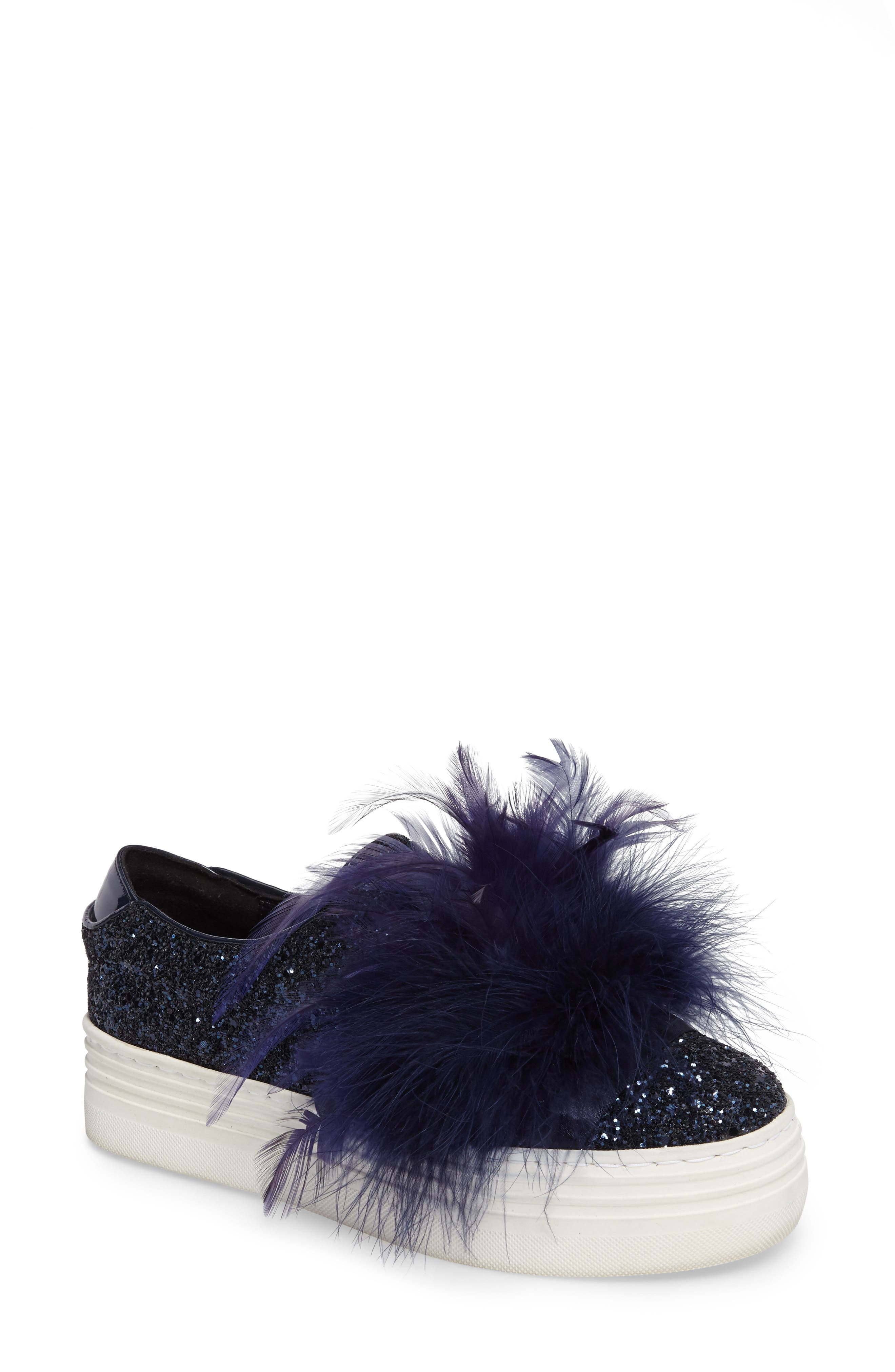Main Image - Here / Now Mia Feather Slip-On Sneaker (Women)