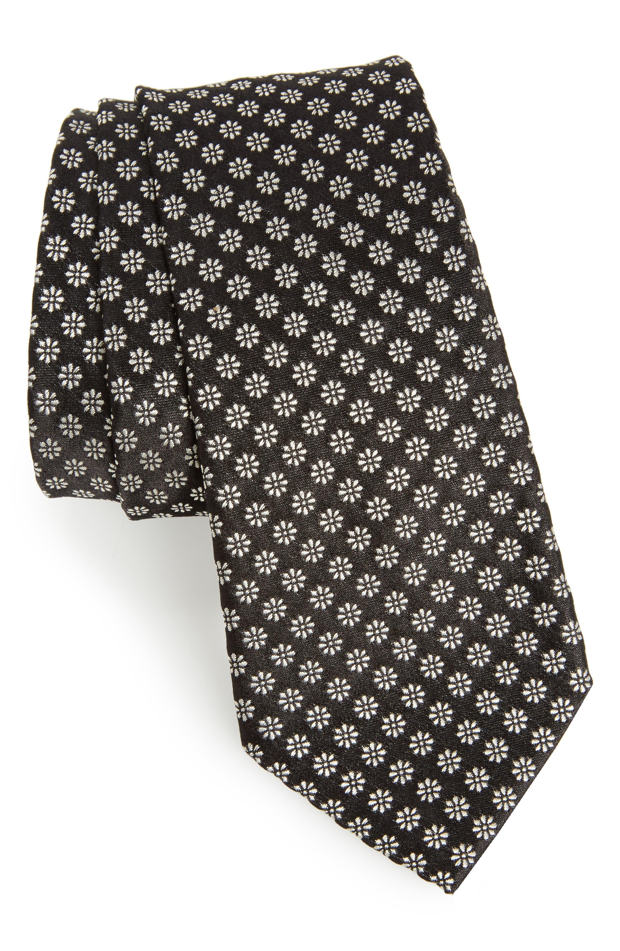 Floral Print Skinny Tie,                         Main,                         color, Black