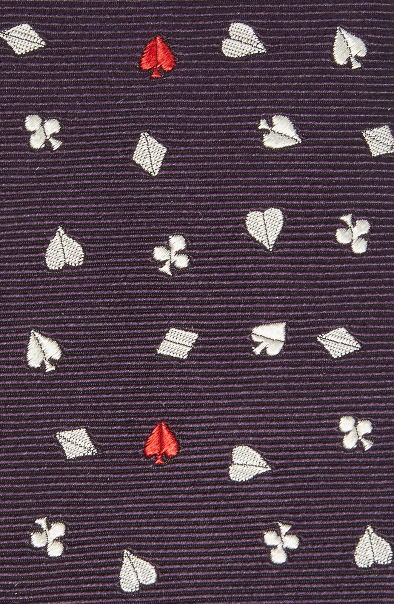 Poker Silk Skinny Tie,                             Alternate thumbnail 2, color,                             Navy