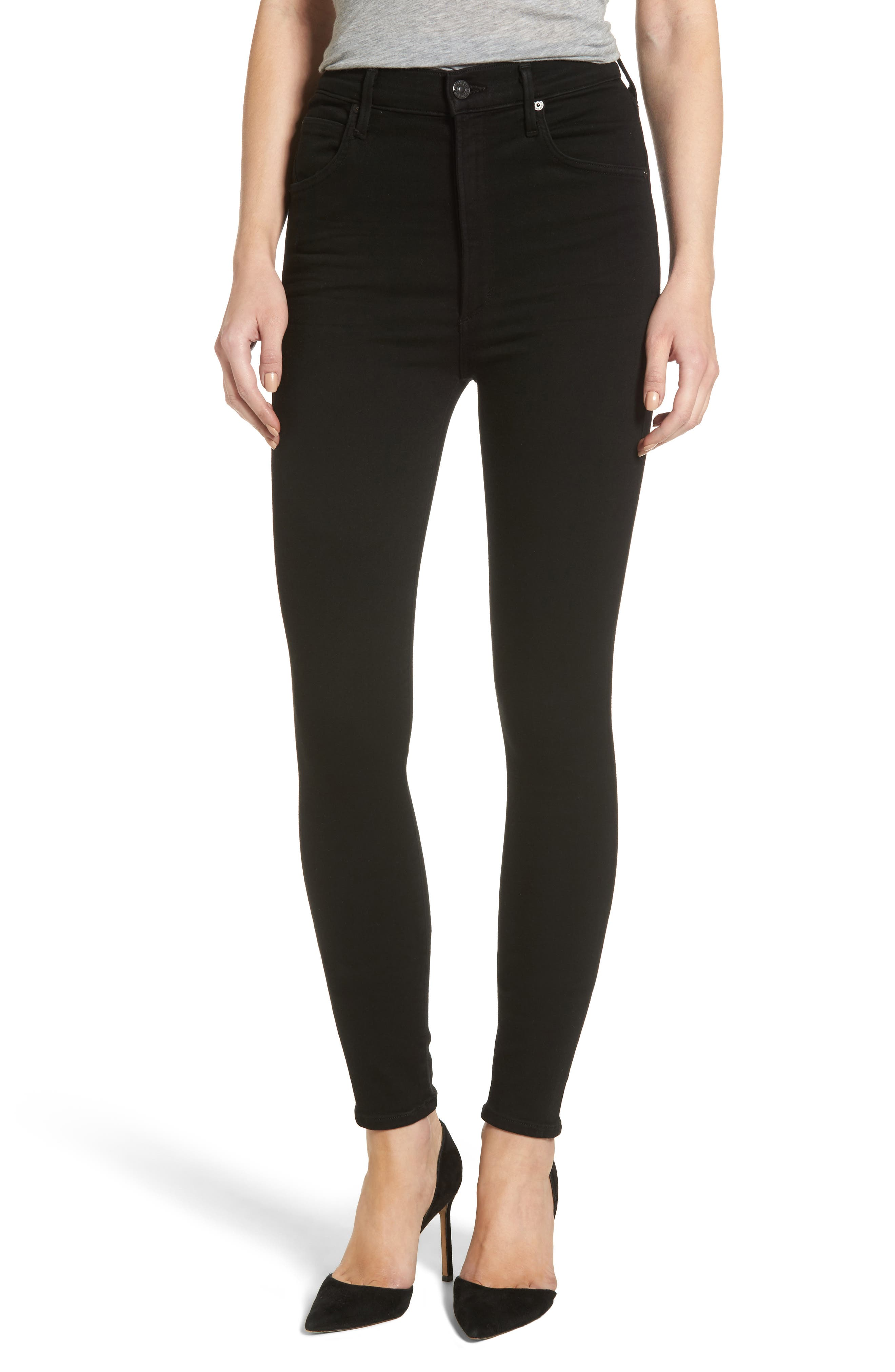 Chrissy High Waist Skinny Jeans,                         Main,                         color, All Black