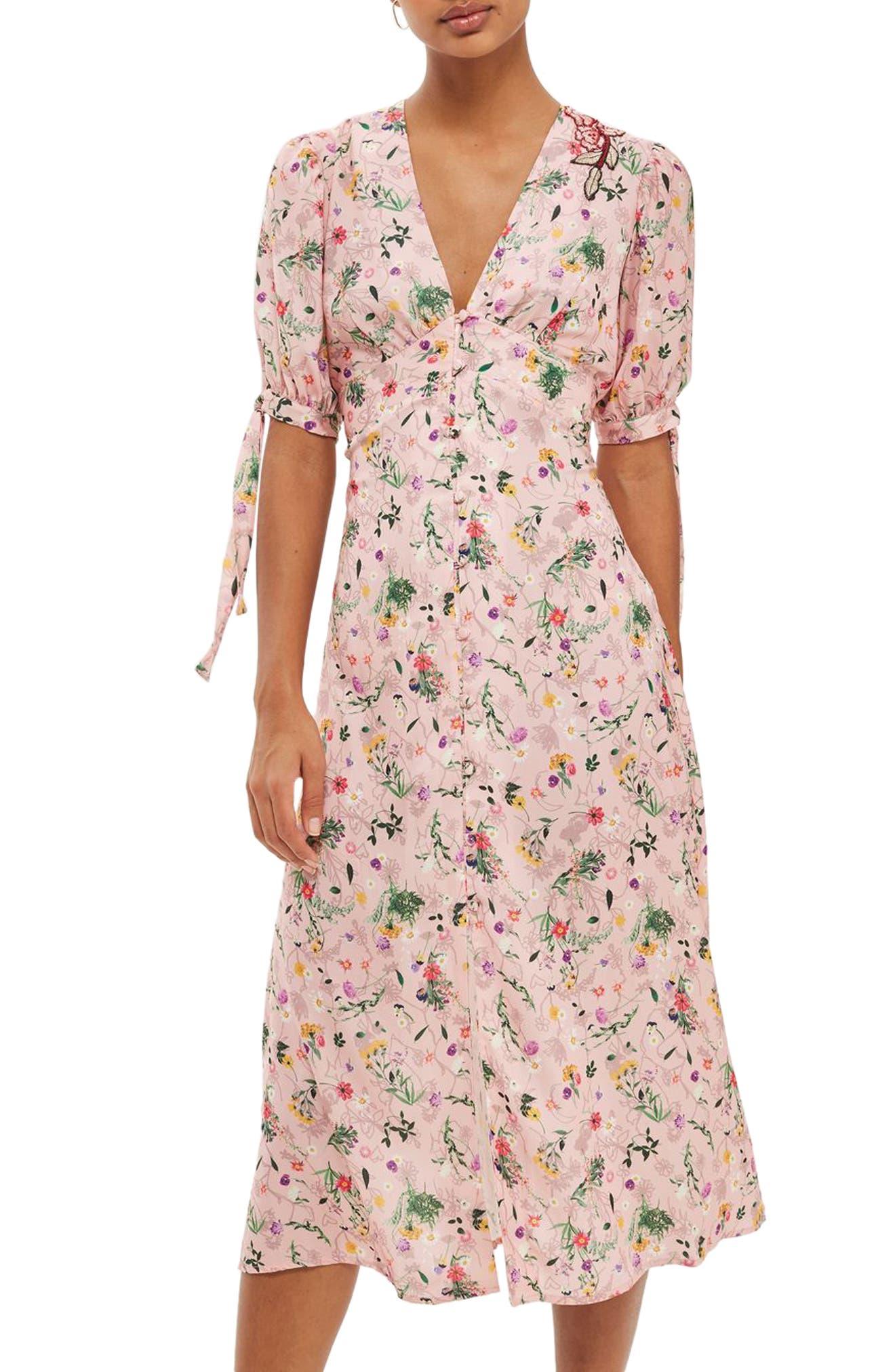 Topshop Floral Appliqué Print Midi Dress