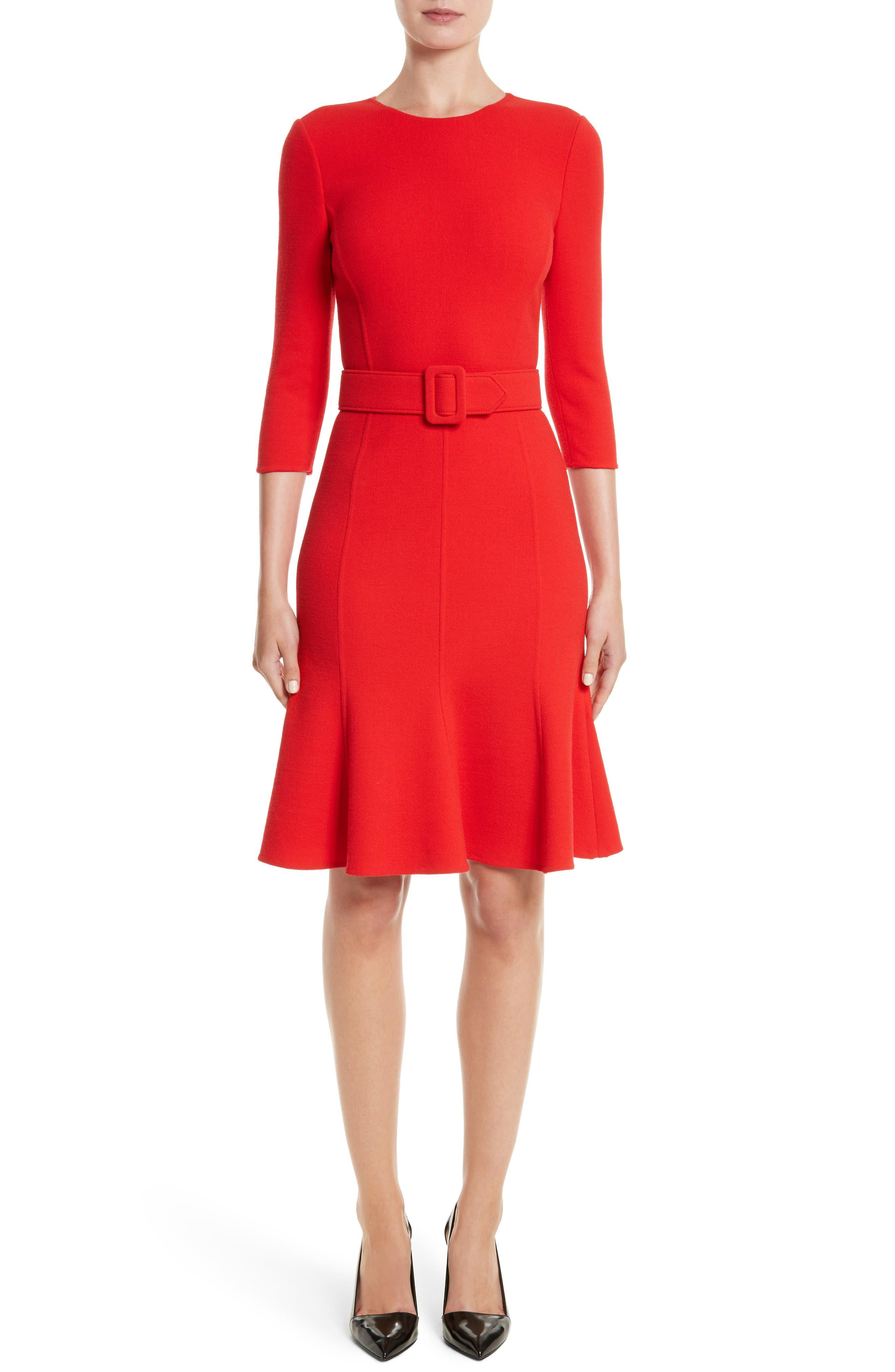 Main Image - Oscar de la Renta Crepe Fit & Flare Dress