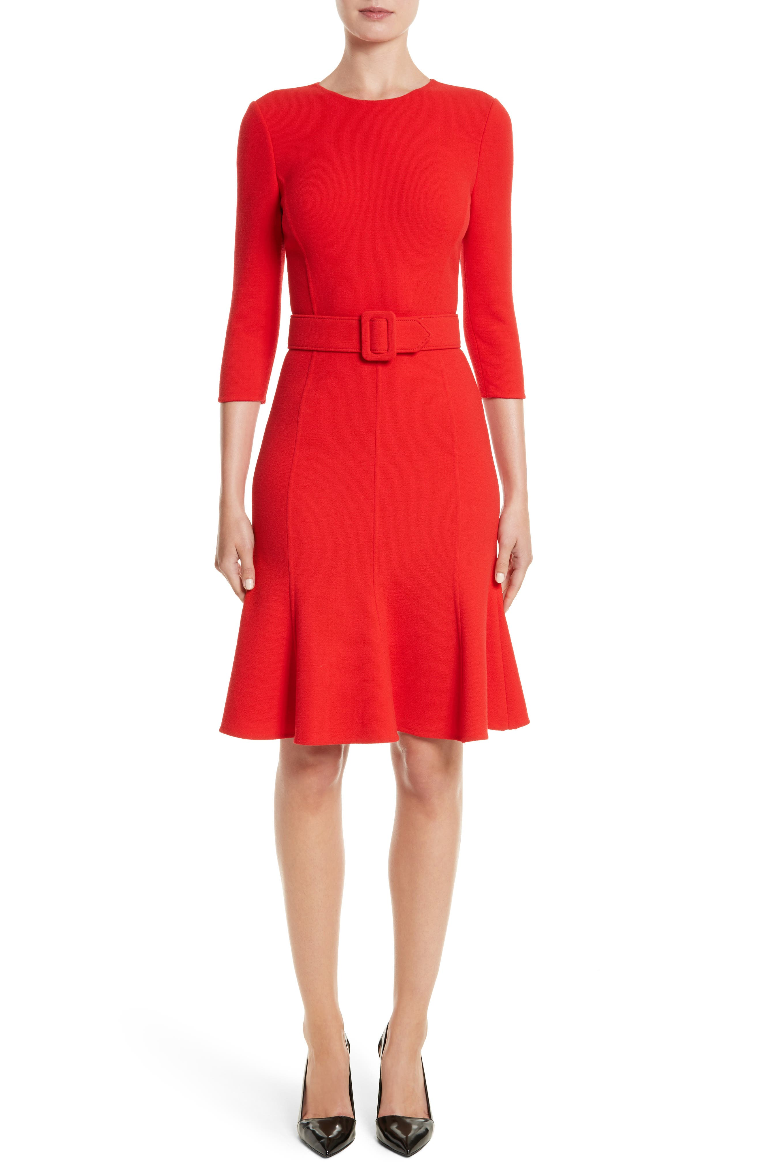 Crepe Fit & Flare Dress,                         Main,                         color, Scarlet