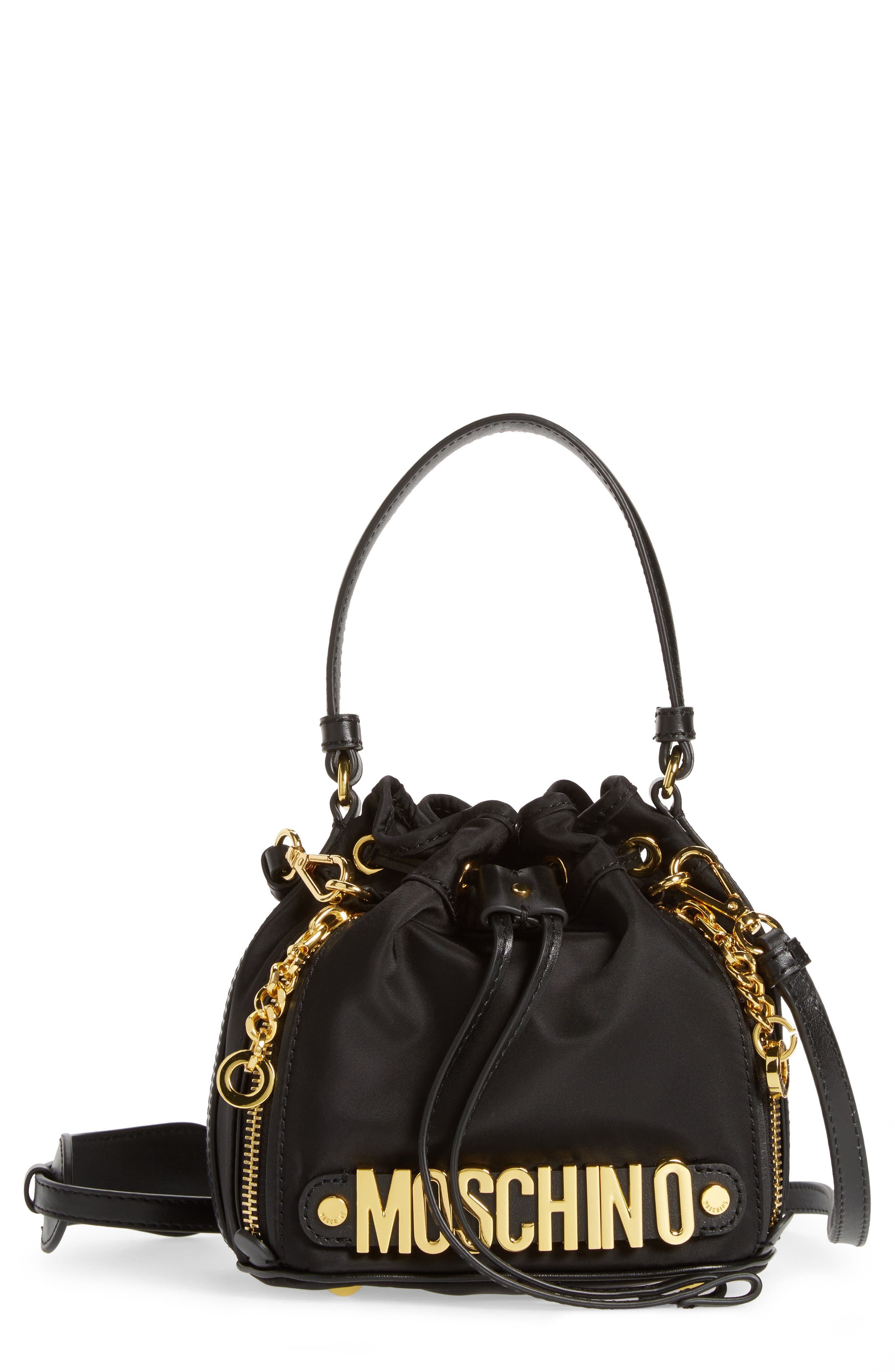 Moschino Letters Small Nylon Bucket Bag