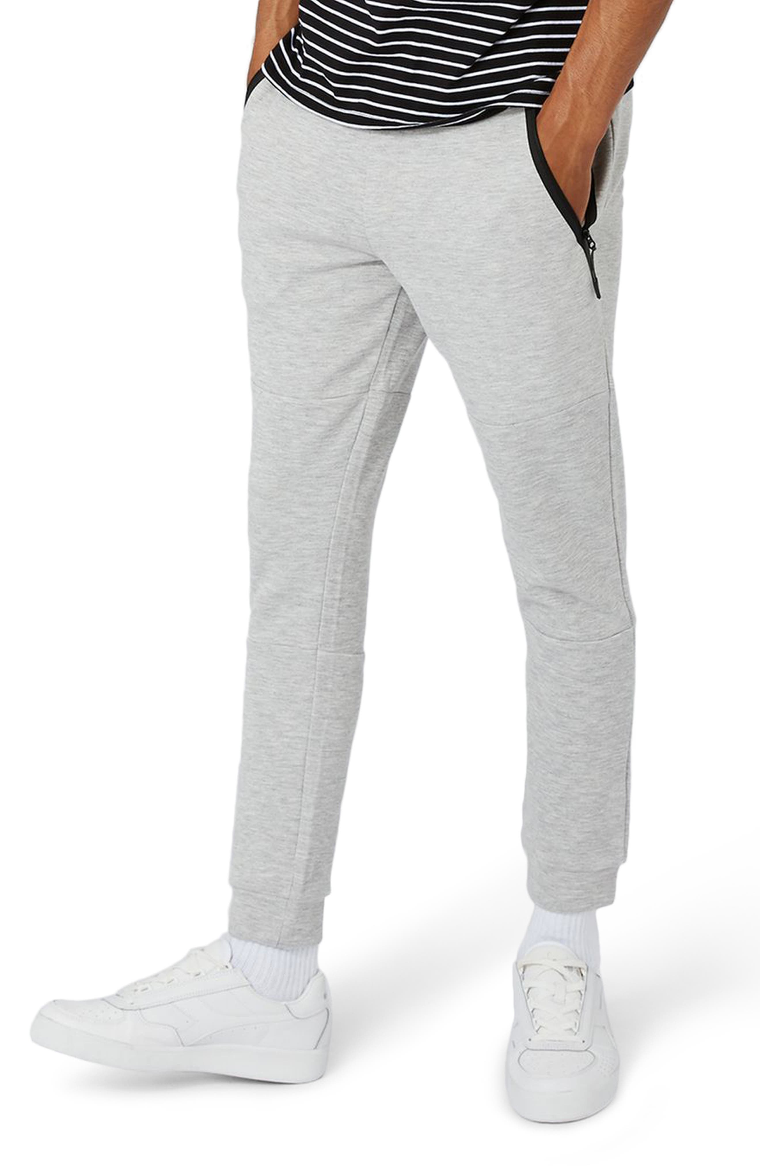 Zip Detail Skinny Jogger Pants,                             Main thumbnail 1, color,                             Grey