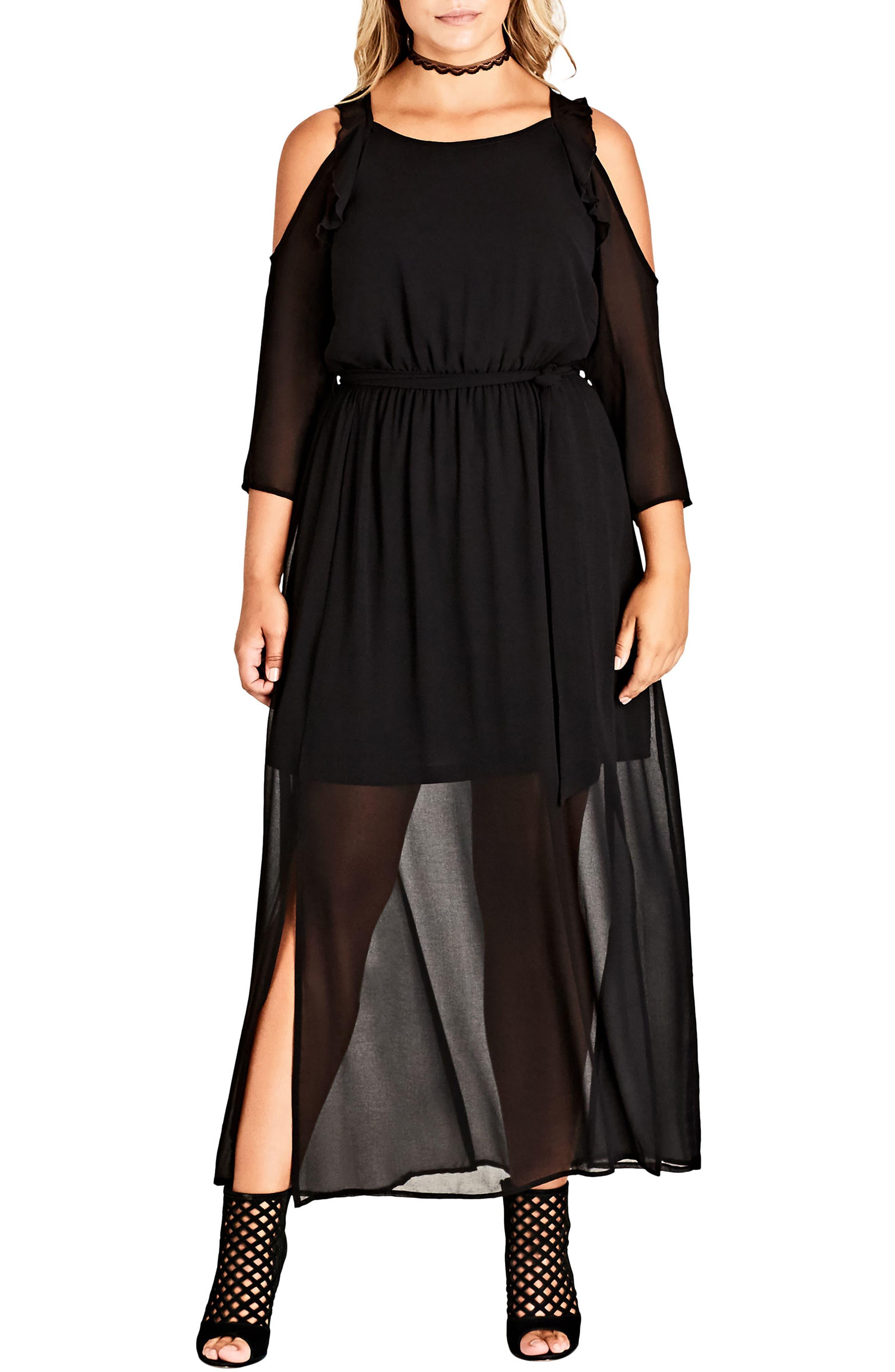 Alternate Image 1 Selected - City Chic Cold Shoulder Maxi Dress (Plus Size)