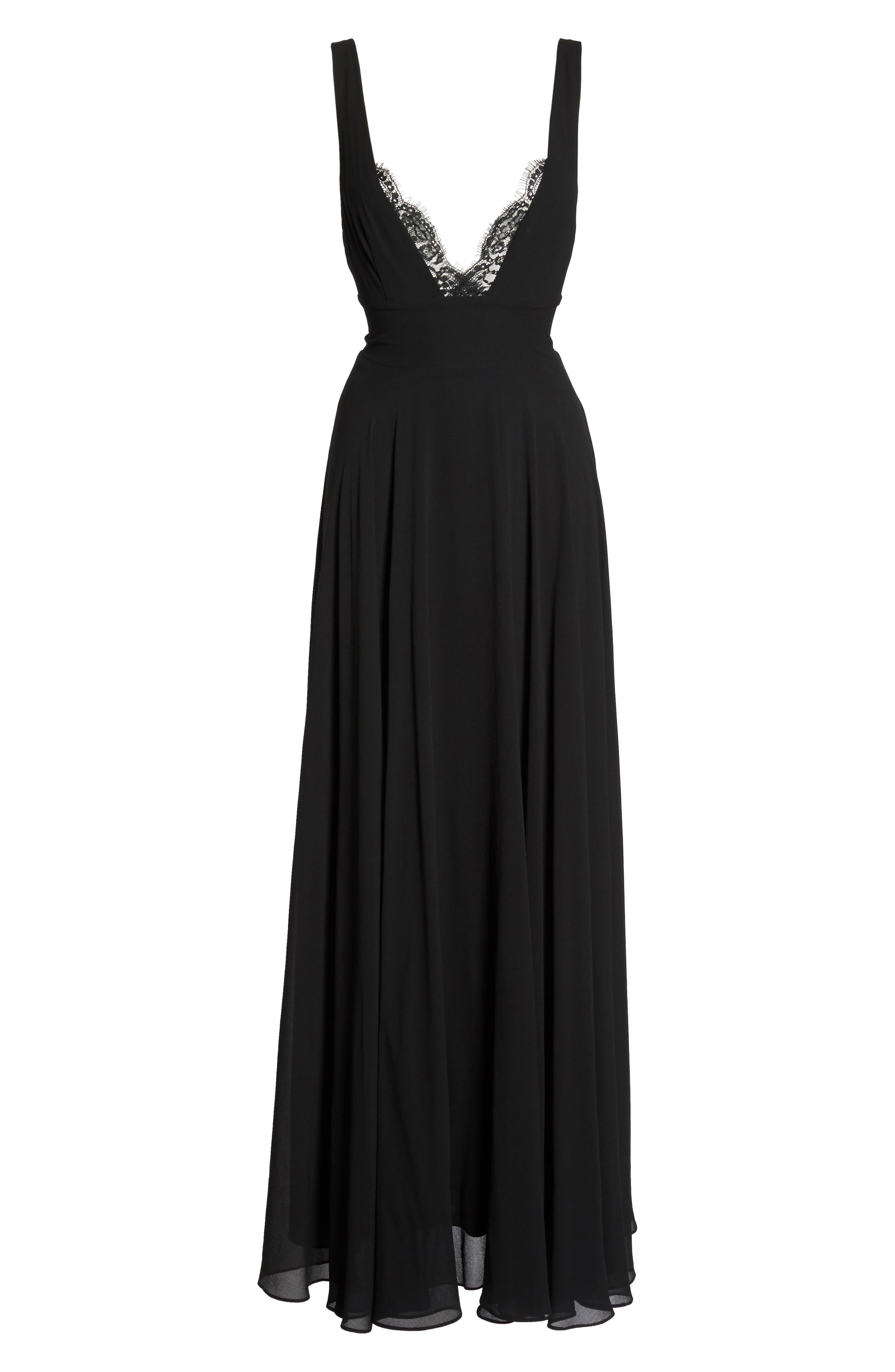 Lace Trim Chiffon Maxi Dress,                             Alternate thumbnail 6, color,                             Black