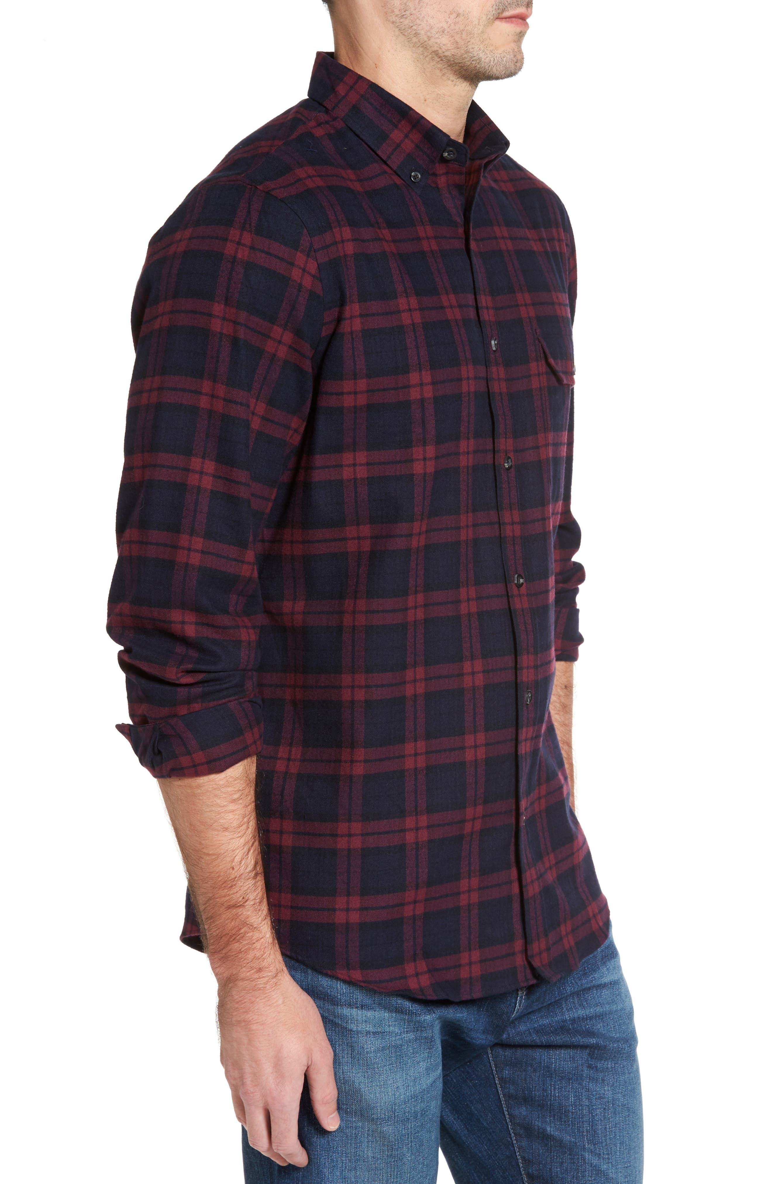 Regular Fit Plaid Sport Shirt,                             Alternate thumbnail 3, color,                             Red Chili Plaid Flannel