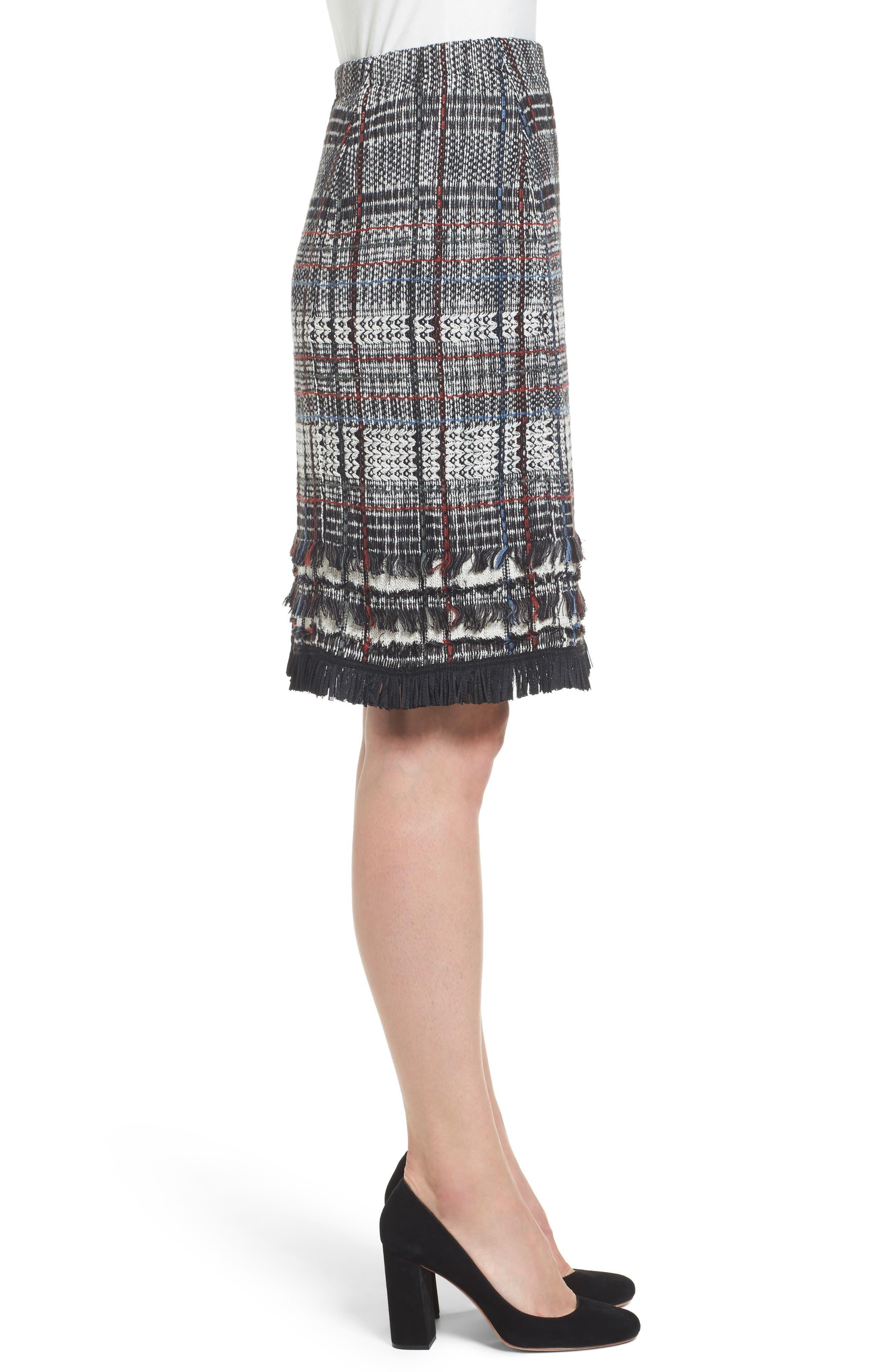 Checked Fringe Skirt,                             Alternate thumbnail 3, color,                             Multi