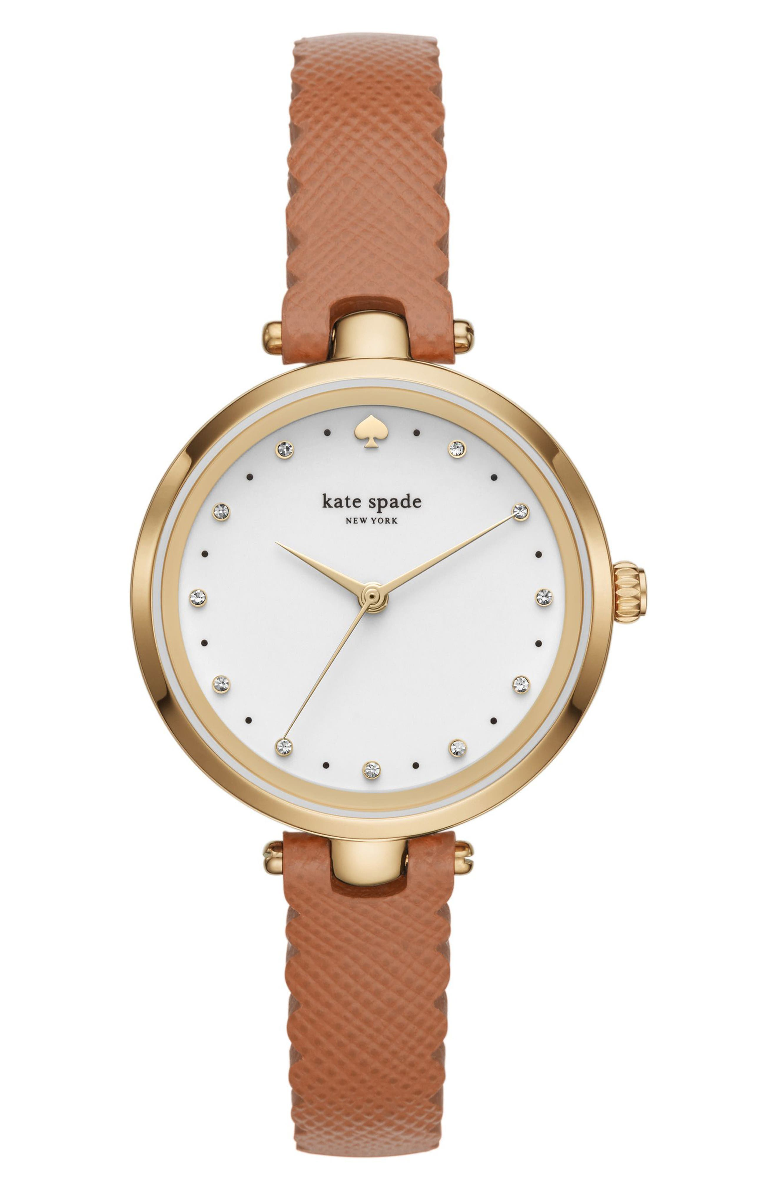 holland leather strap watch, 34mm,                         Main,                         color, Brown/ White/ Gold