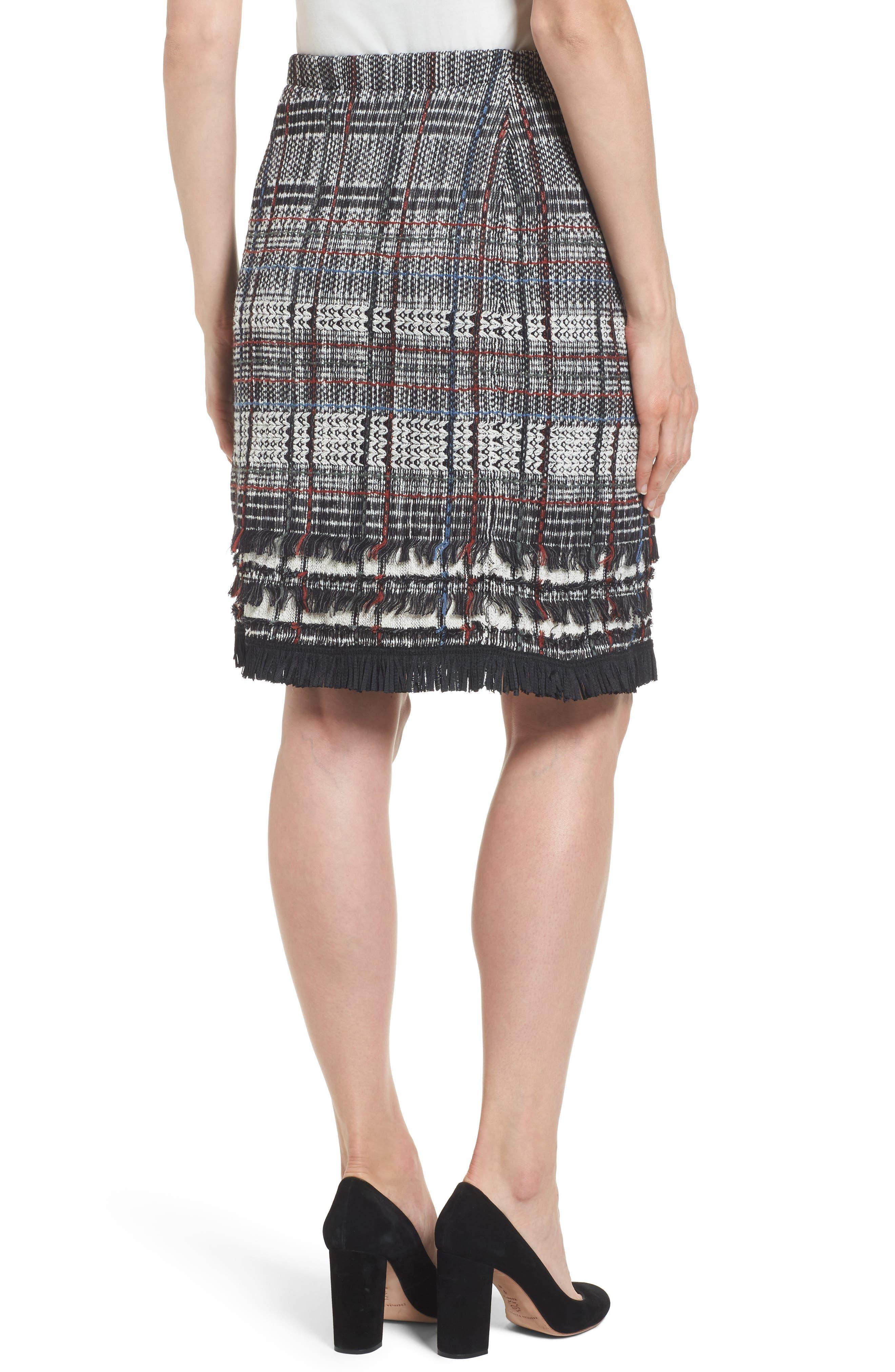 Checked Fringe Skirt,                             Alternate thumbnail 2, color,                             Multi