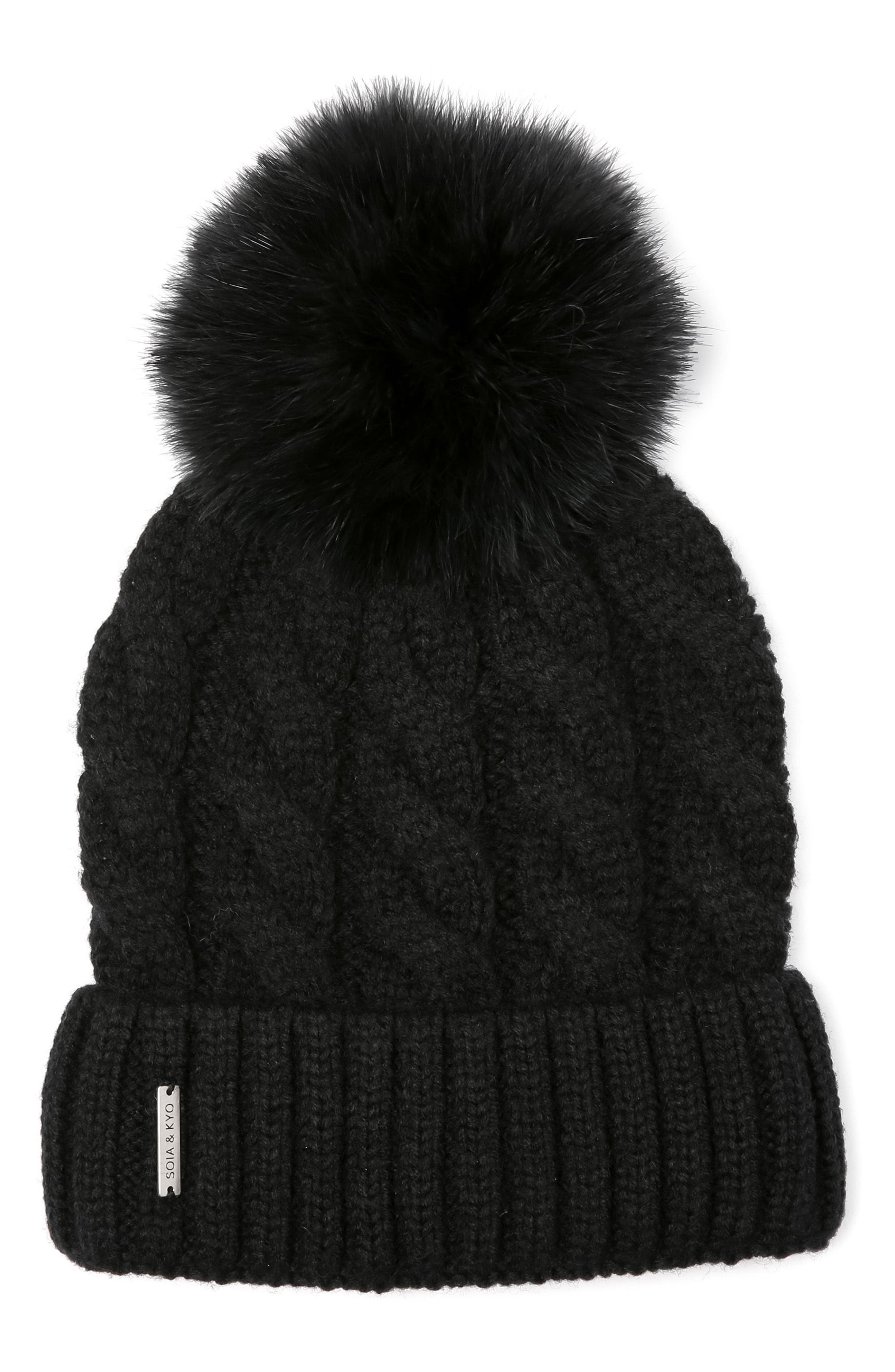 Cable Knit Beanie with Removable Feather Pompom,                             Main thumbnail 1, color,                             Black