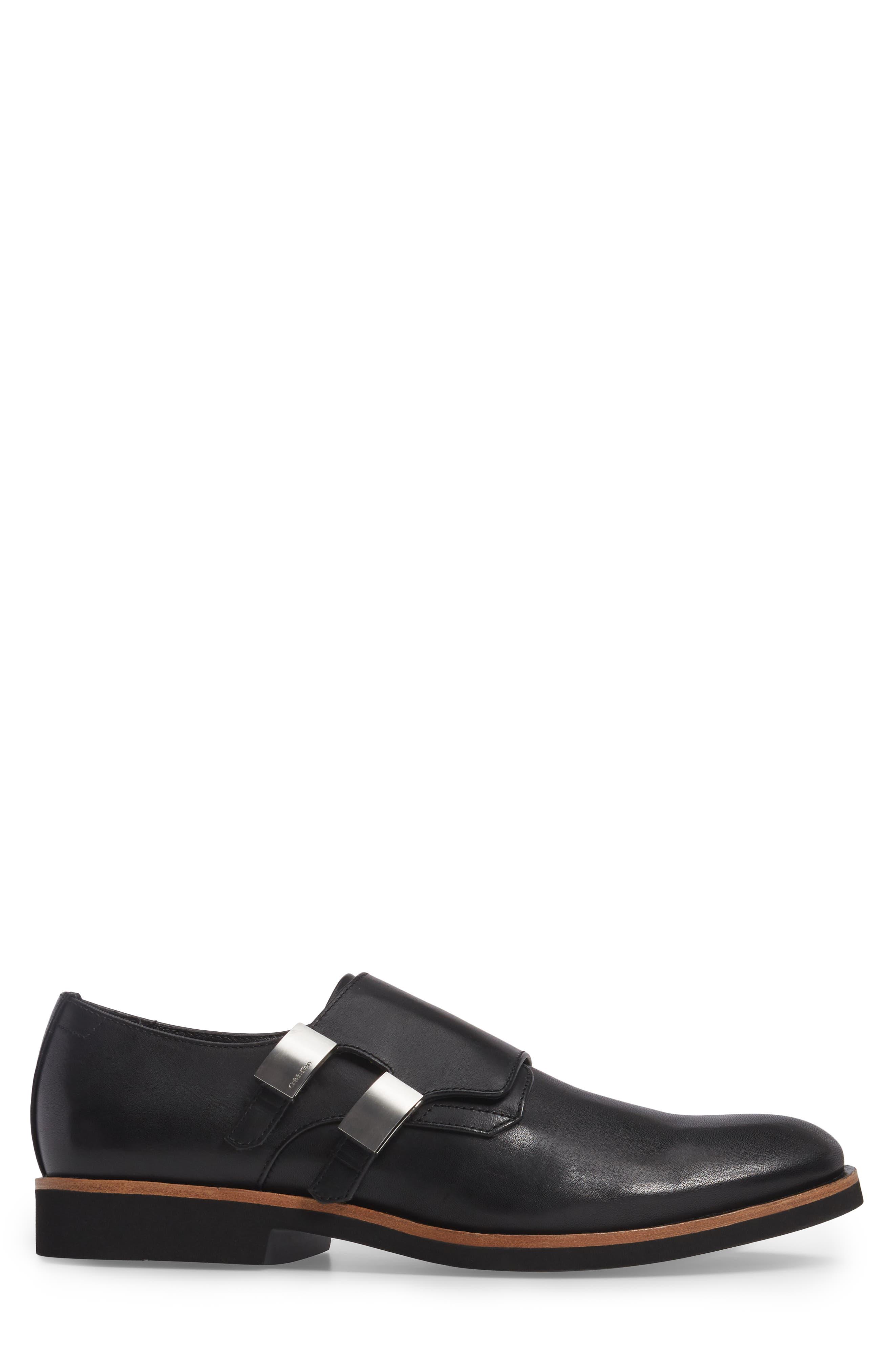 Finnegan Double Monk Strap Shoe,                             Alternate thumbnail 3, color,                             Black Leather