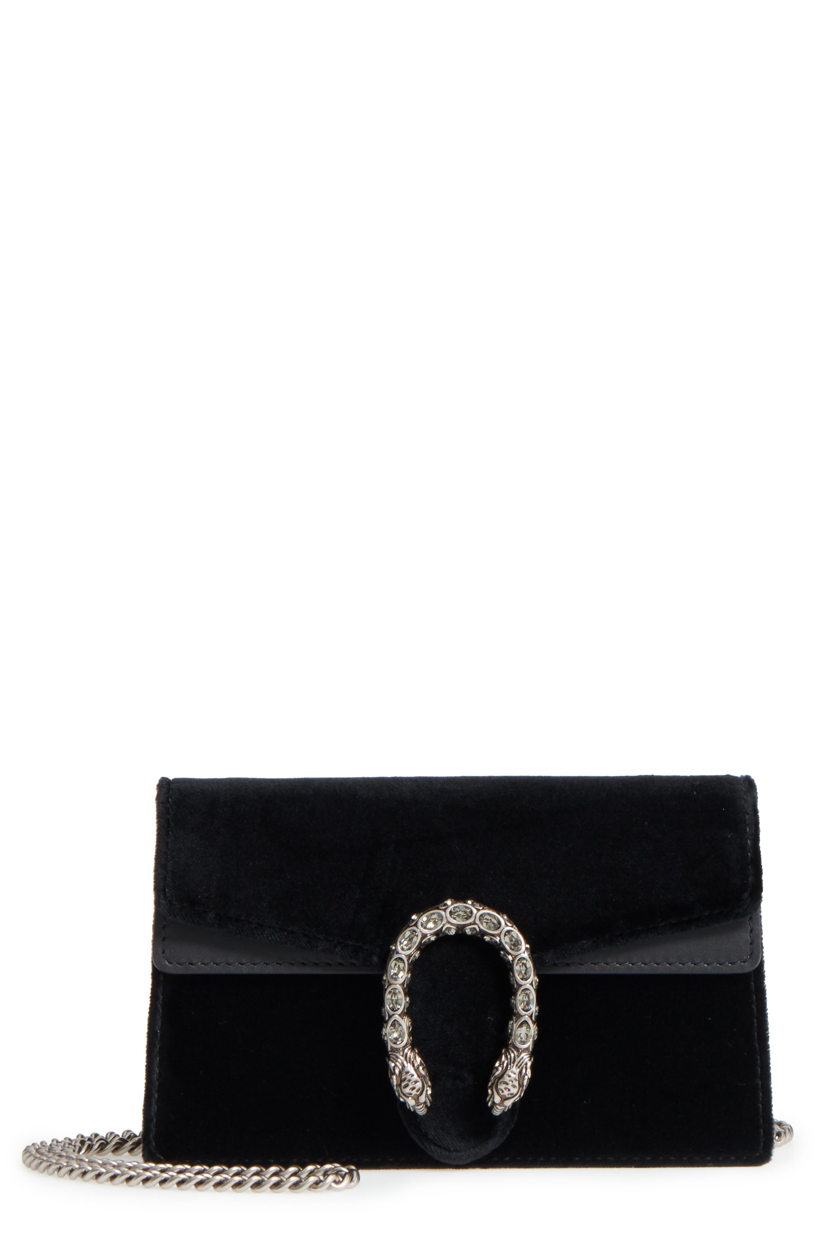 Super Mini Dionysus Velvet Shoulder Bag,                         Main,                         color, Nero