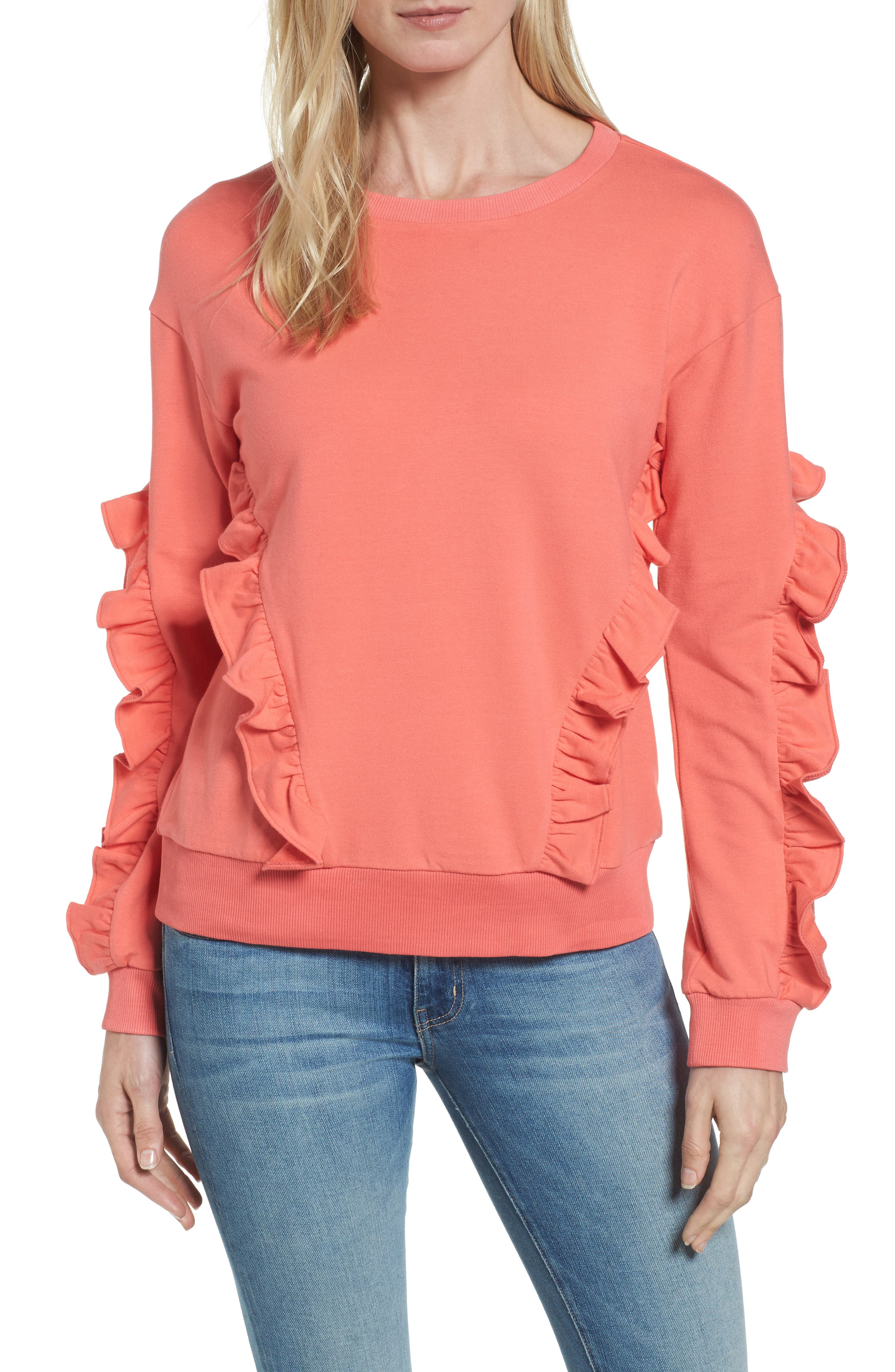 Halogen® Ruffle Detail Sweatshirt