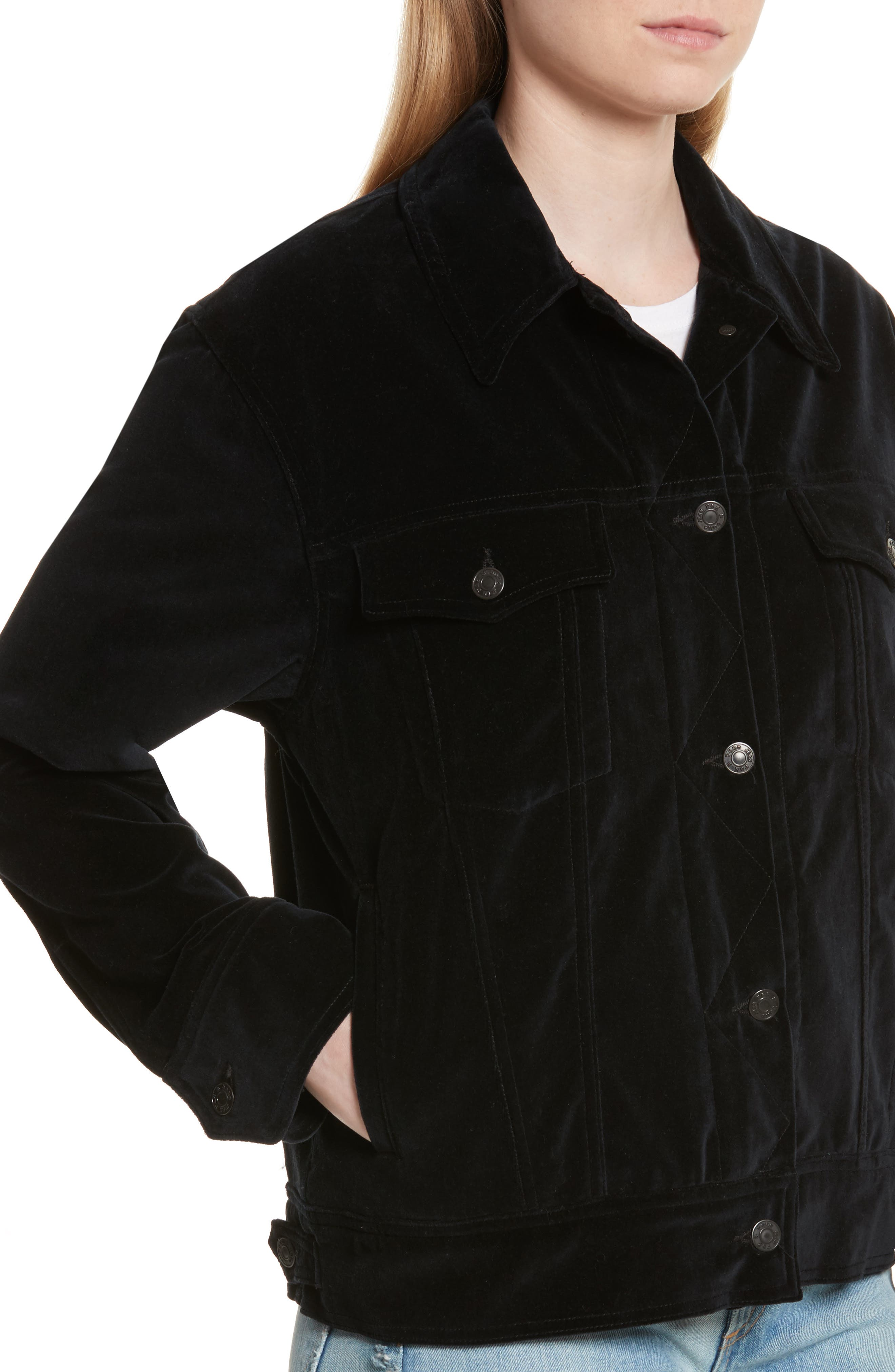 Oversize Velvet Jacket,                             Alternate thumbnail 4, color,                             Black Velvet