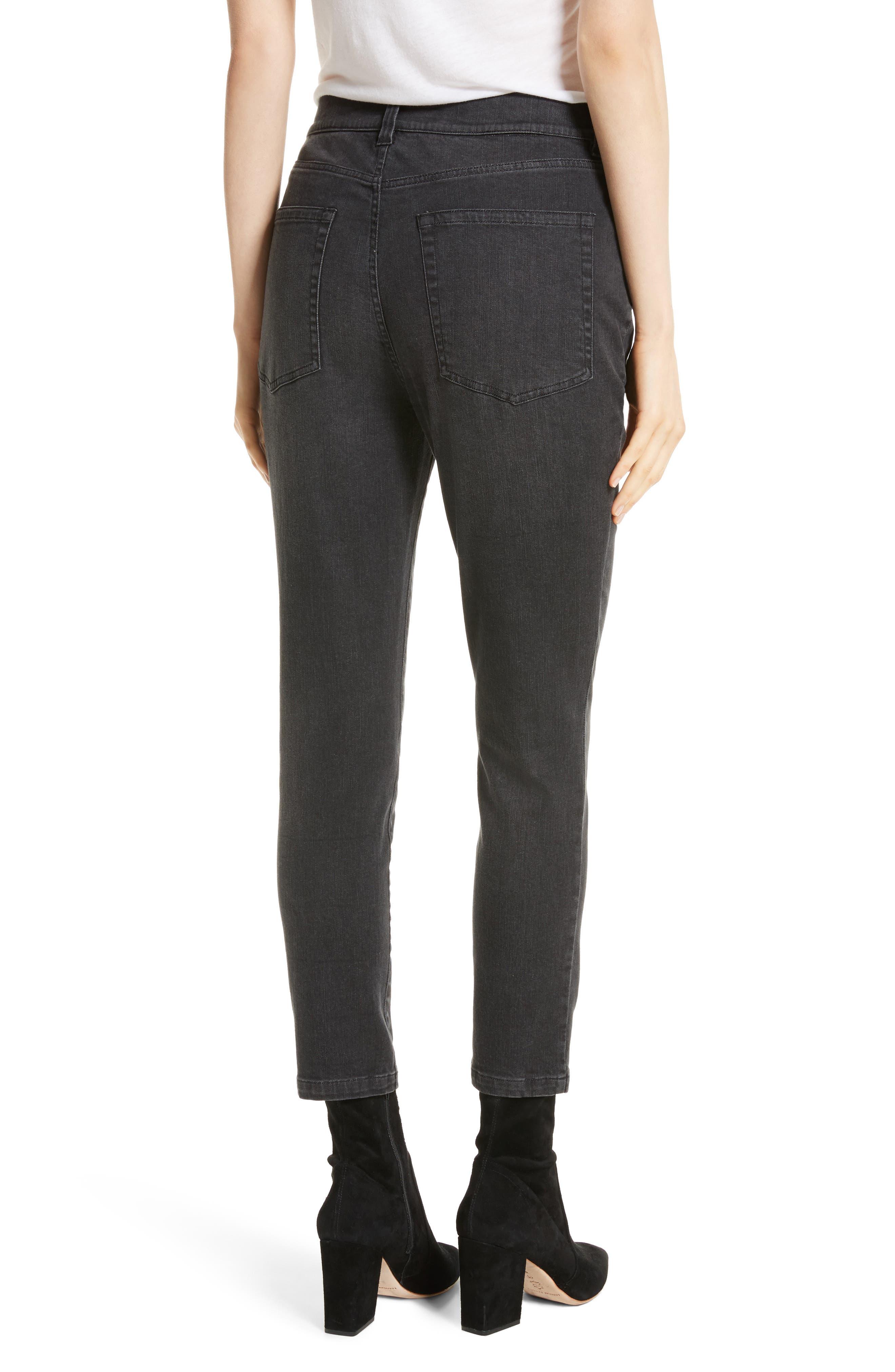 High Waist Slim Jeans,                             Alternate thumbnail 3, color,                             Black Rinse