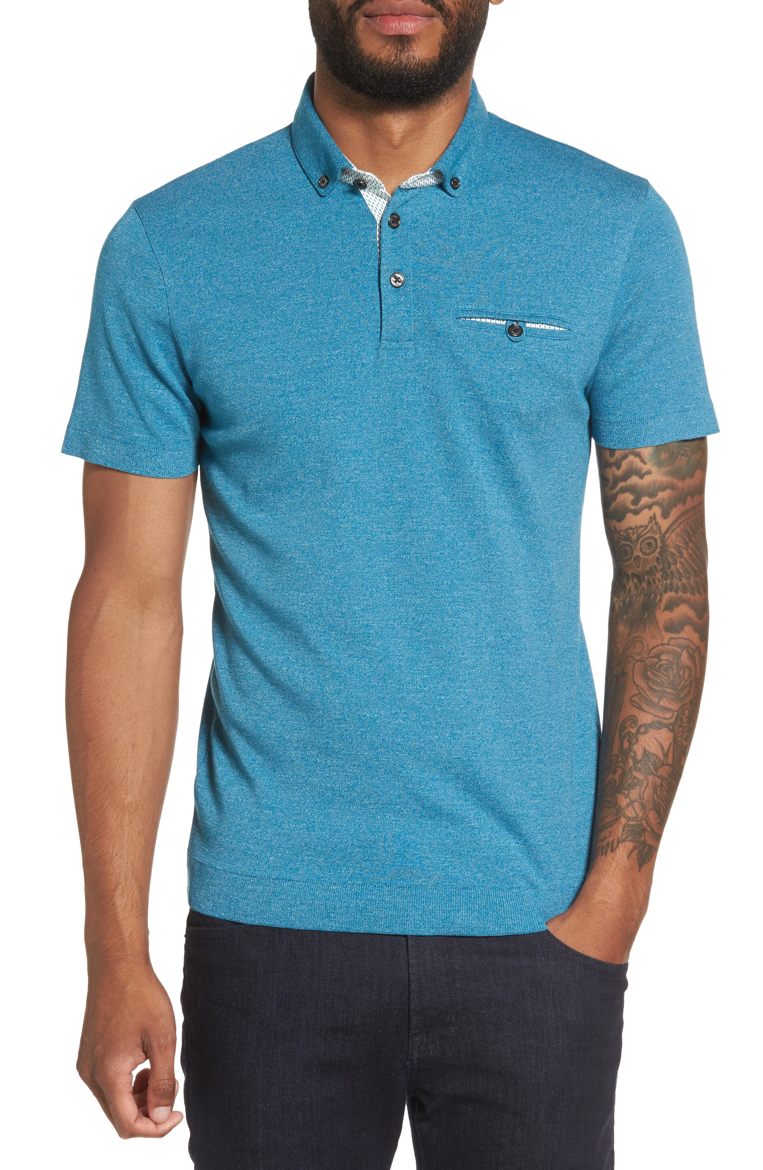 Frankiy Button Collar Polo,                             Main thumbnail 1, color,                             Teal