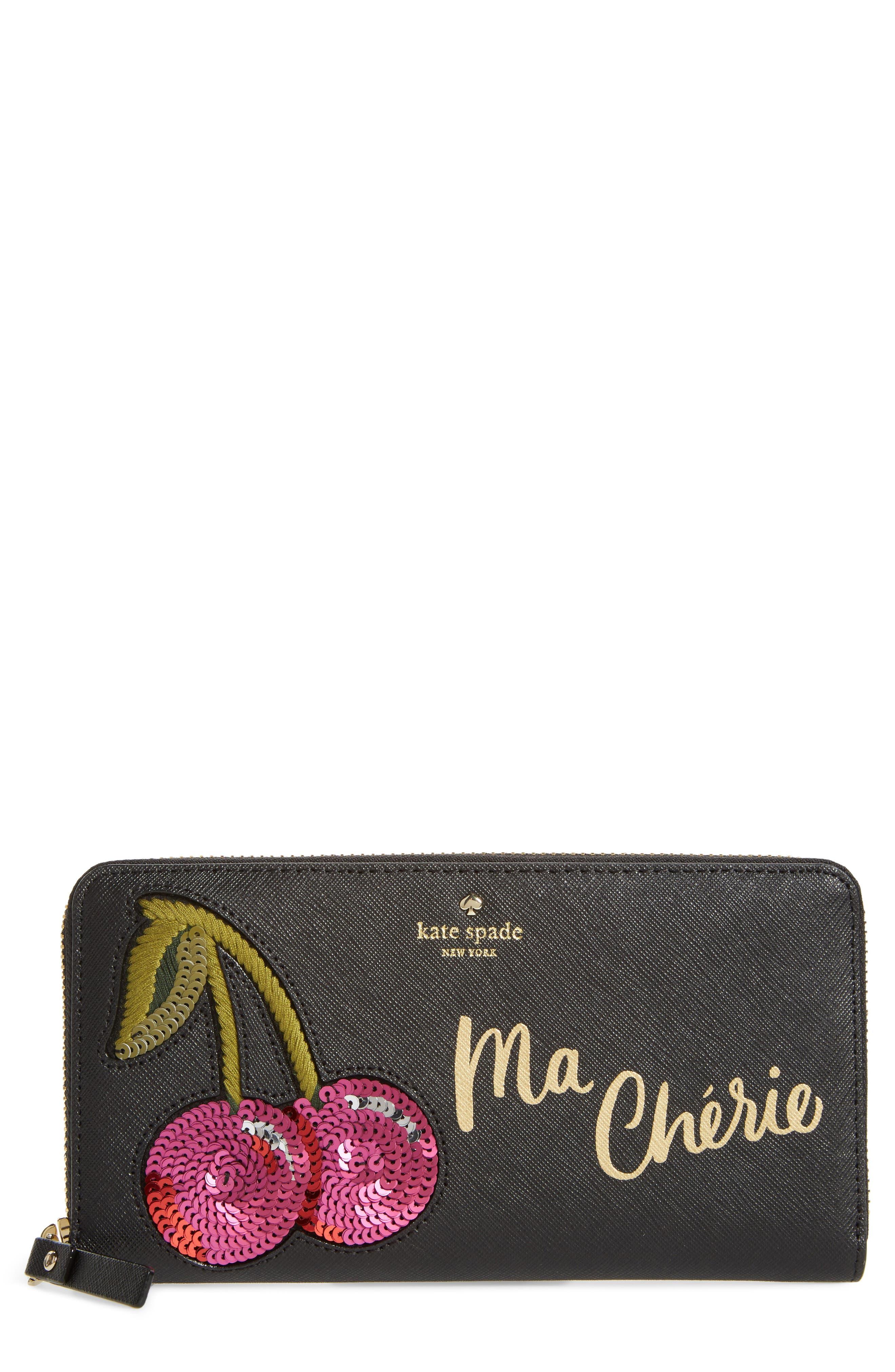 ma chérie - lacey appliqué leather wallet,                         Main,                         color, Black Multi