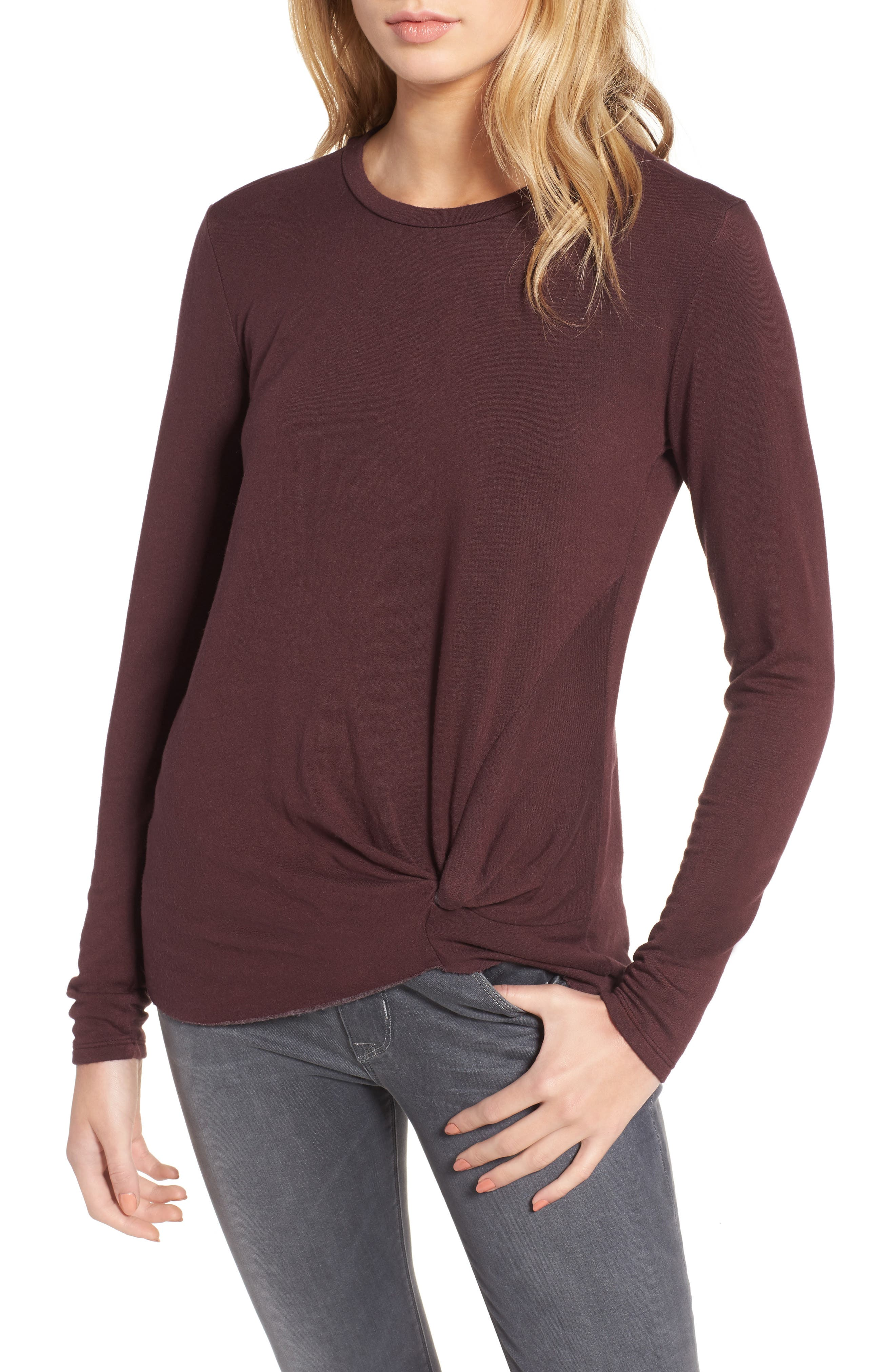 Twist Front Fleece Sweatshirt,                             Main thumbnail 1, color,                             Wine