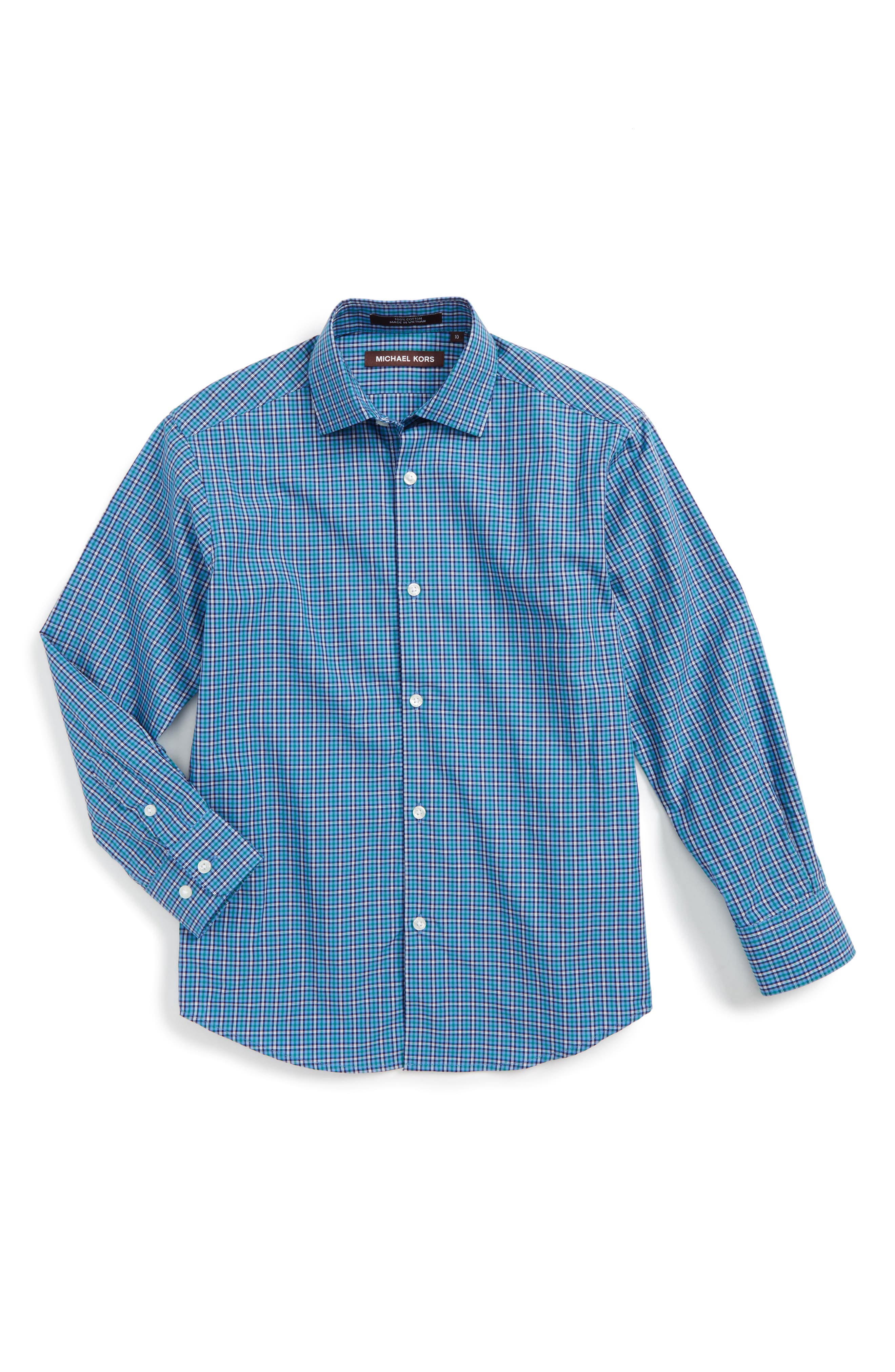 Check Dress Shirt,                         Main,                         color, Blue/ Green