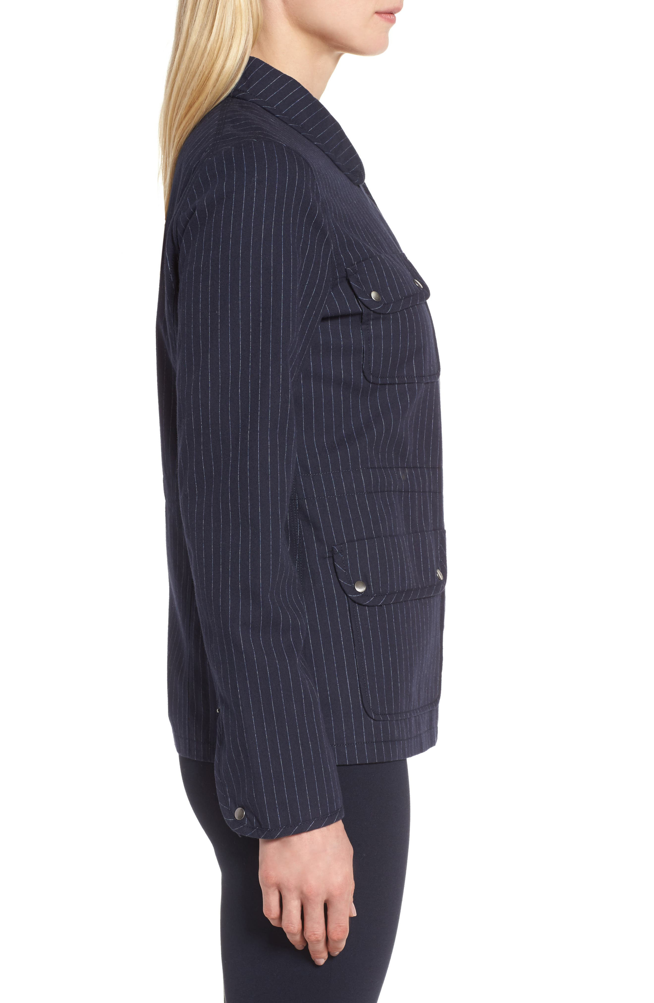 Pinstripe Utility Jacket,                             Alternate thumbnail 3, color,                             Navy- Ivory Pinstripe