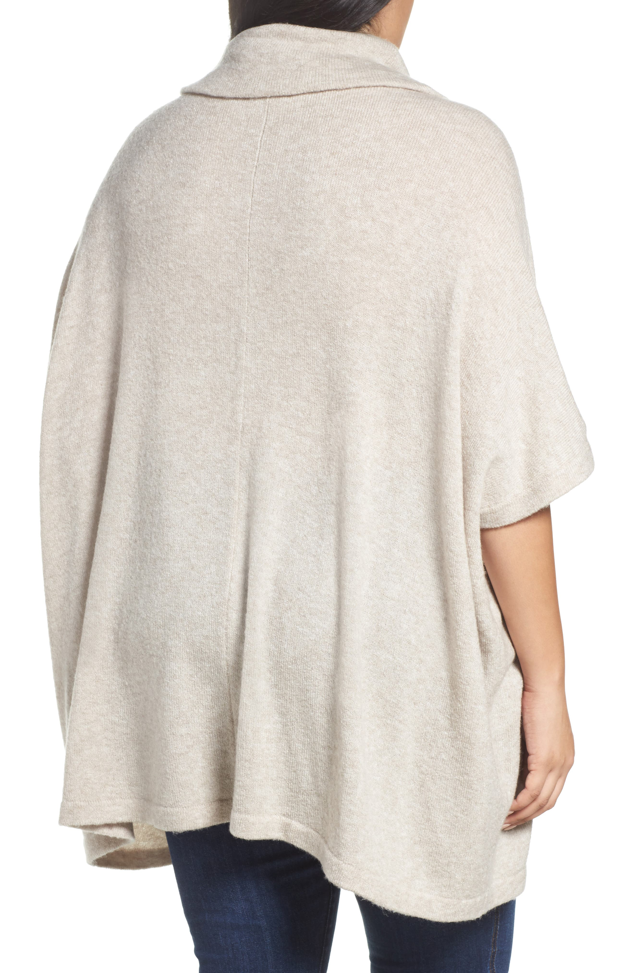 Alternate Image 2  - Caslon® Turtleneck Poncho Sweater (Plus Size)