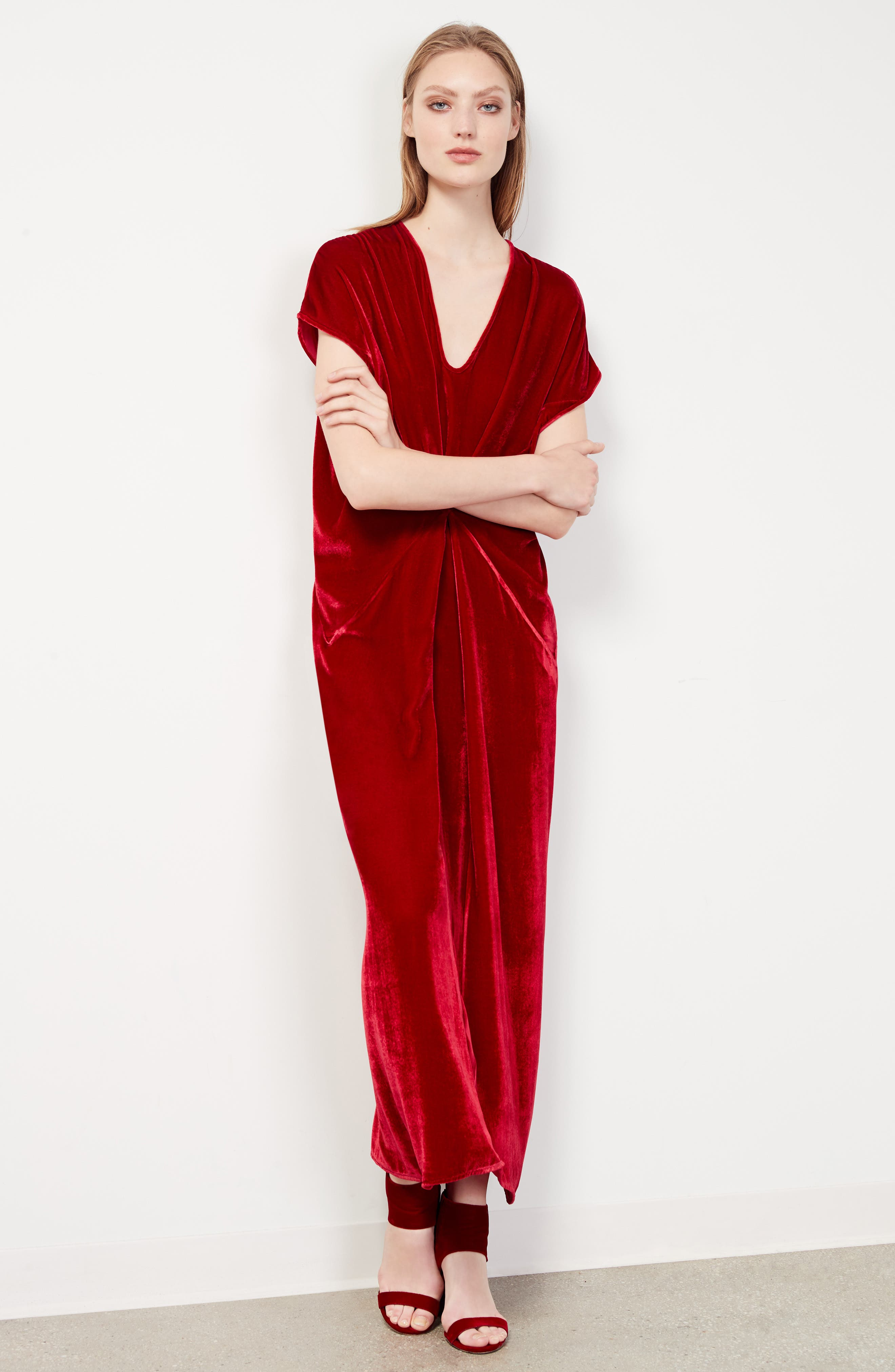 Sana Velvet Dress,                             Alternate thumbnail 7, color,                             Crimson