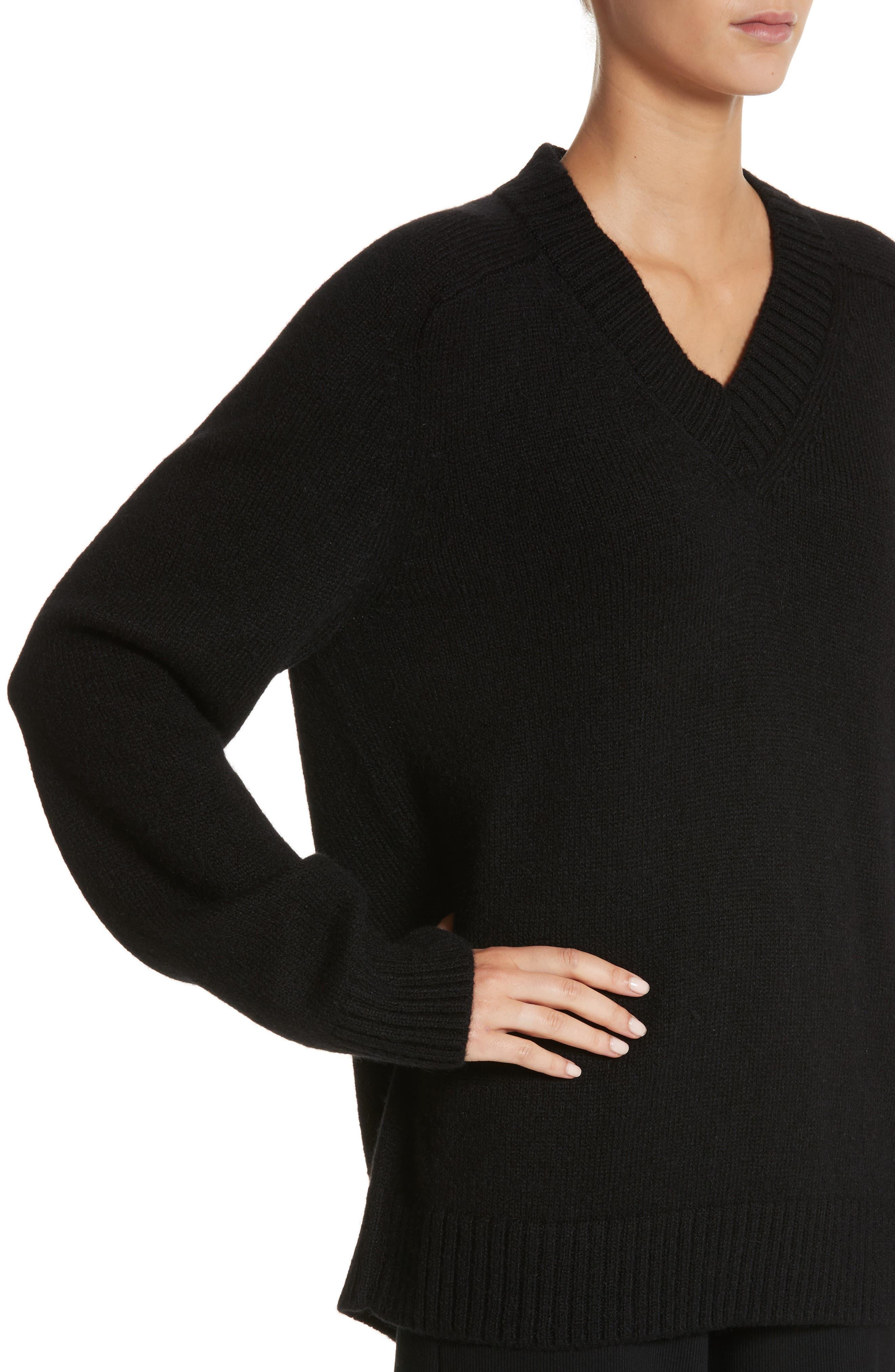 Alpaca Blend V-Neck Sweater,                             Alternate thumbnail 4, color,                             Black