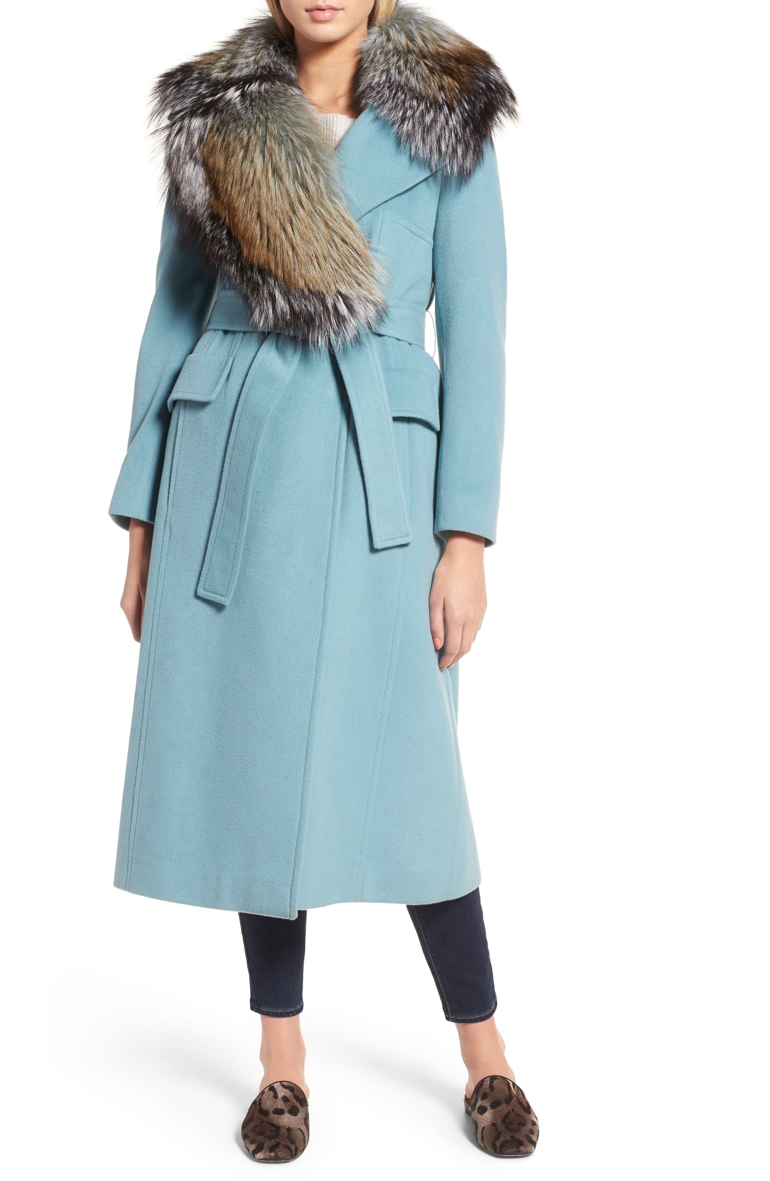 Wool Blend Coat with Removable Genuine Fox Fur Collar,                         Main,                         color, Light Blue