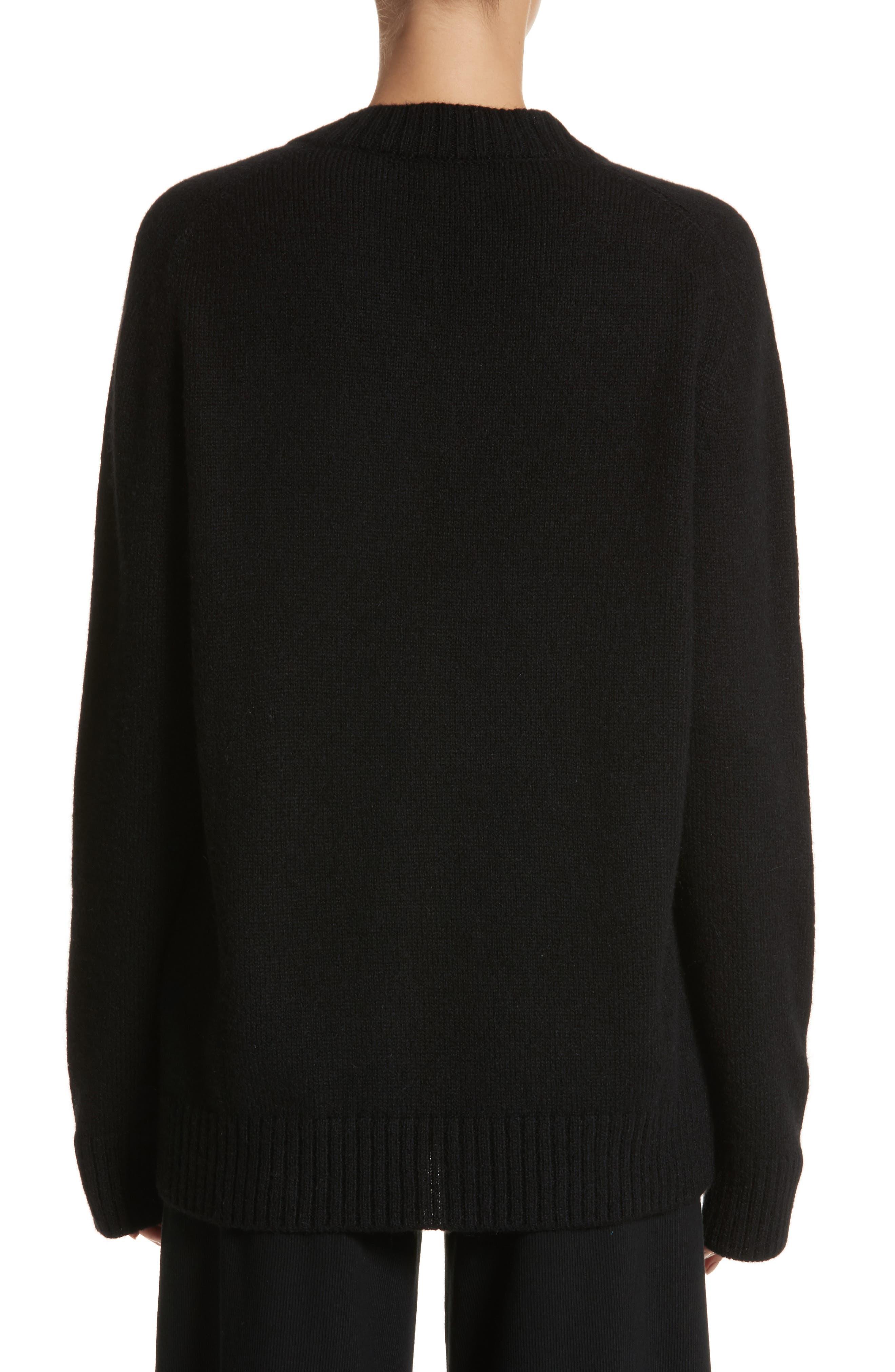 Alpaca Blend V-Neck Sweater,                             Alternate thumbnail 2, color,                             Black