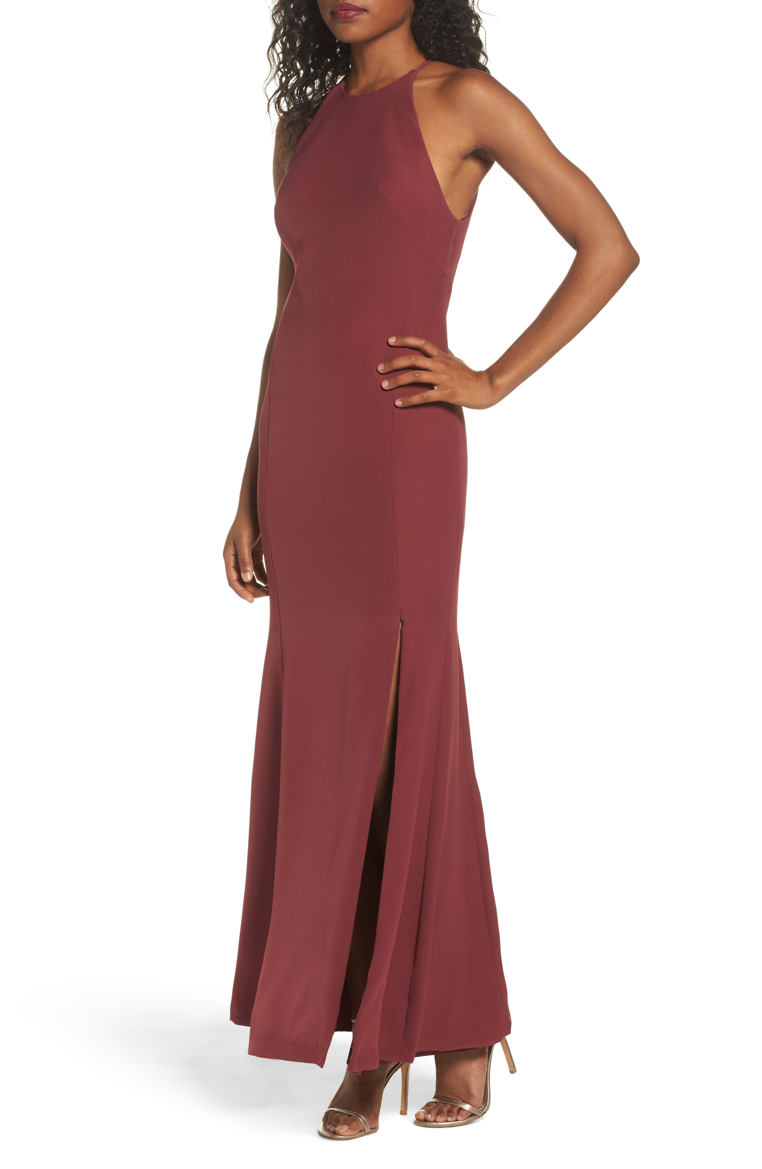 Watters Mical Bellessa Stretch Crepe Gown