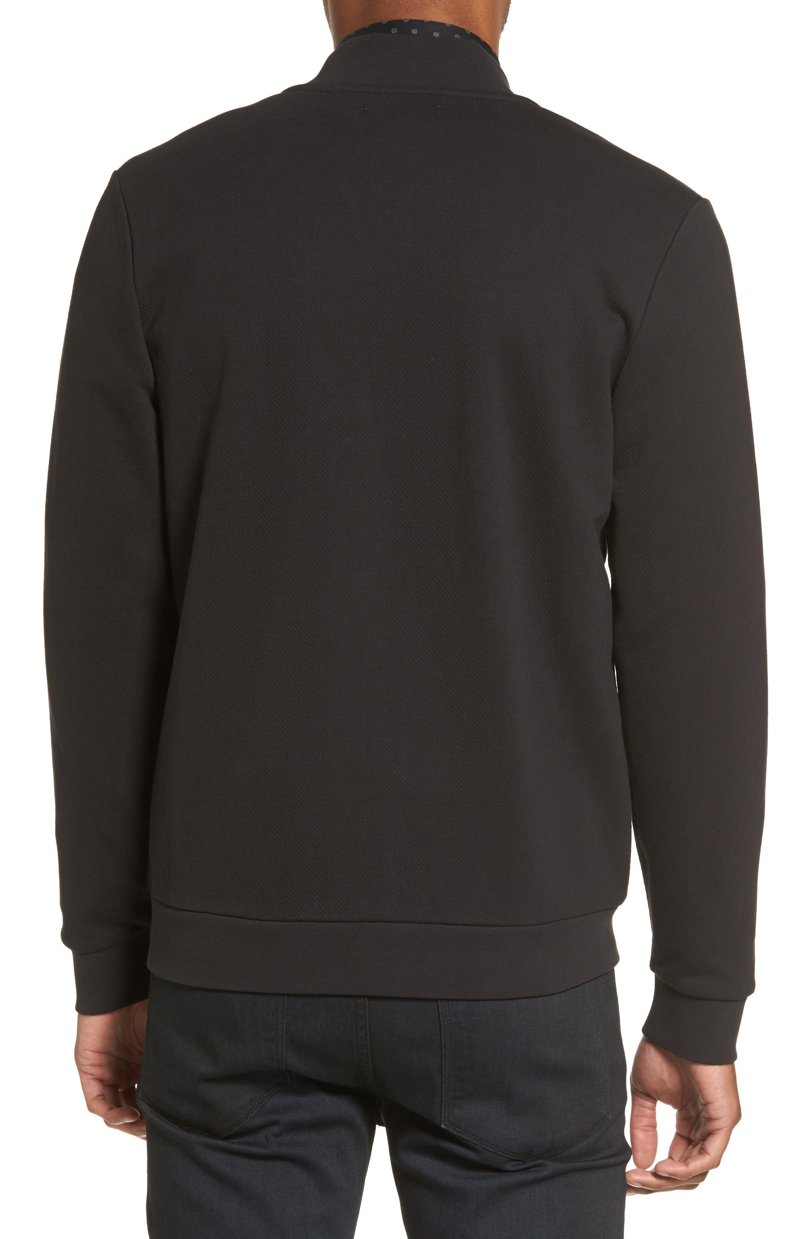 Zip Fleece Bomber Jacket,                             Alternate thumbnail 2, color,                             Black Caviar