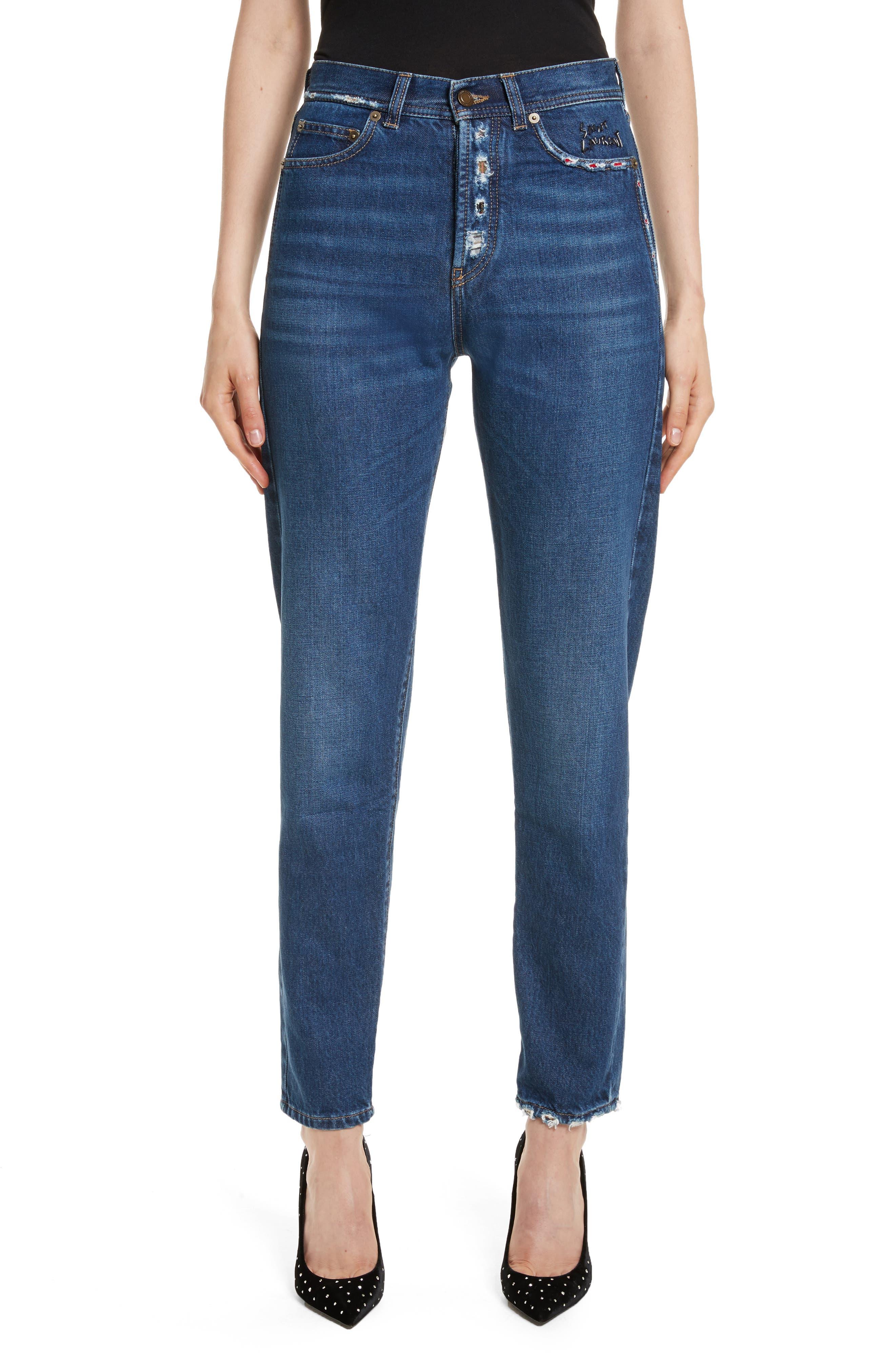 Alternate Image 1 Selected - Saint Laurent Embroidered Jeans (Deep Dark Blue)