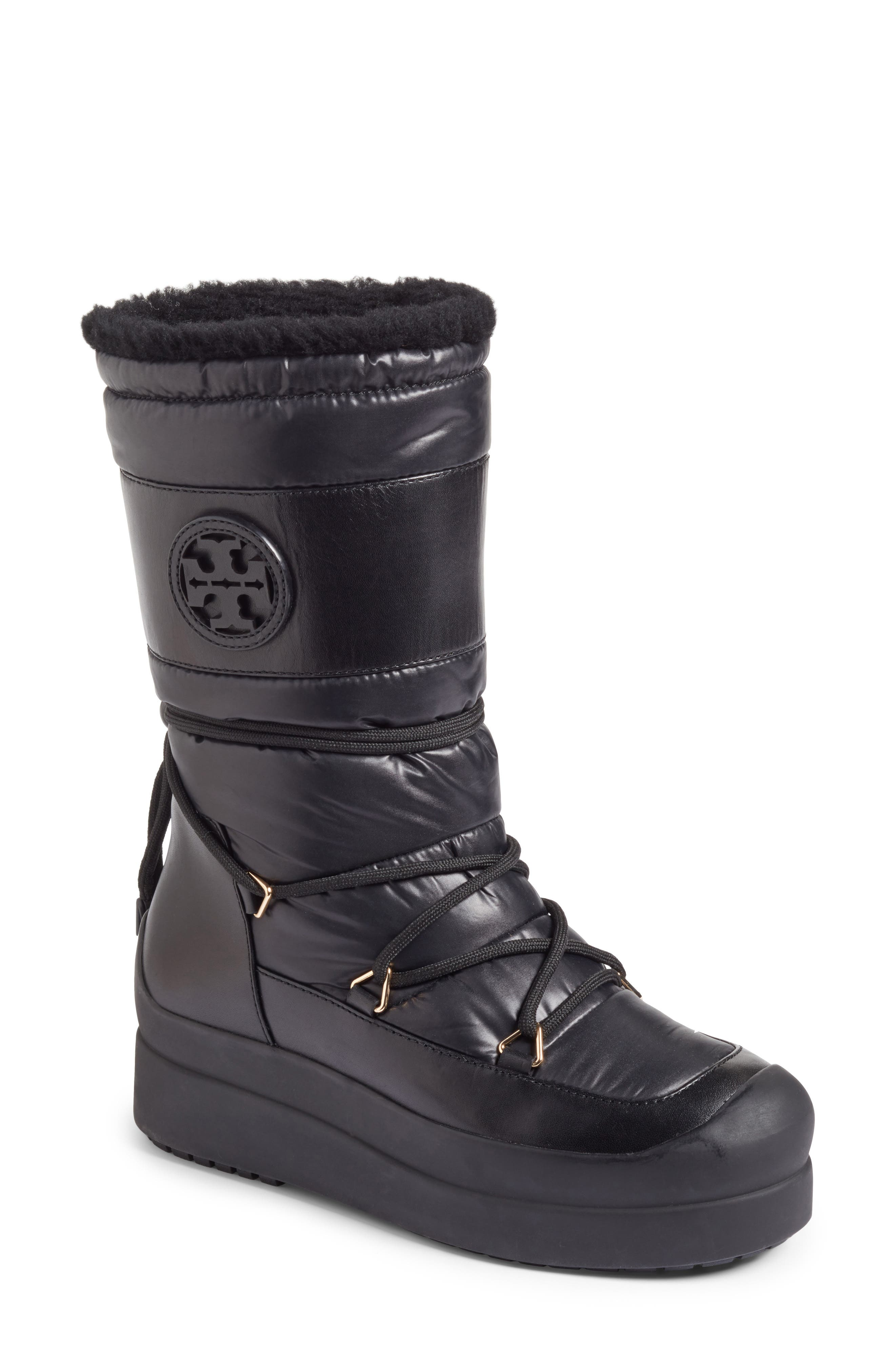 Tory Burch Cliff Genuine Shearling Lined Boot (Women)