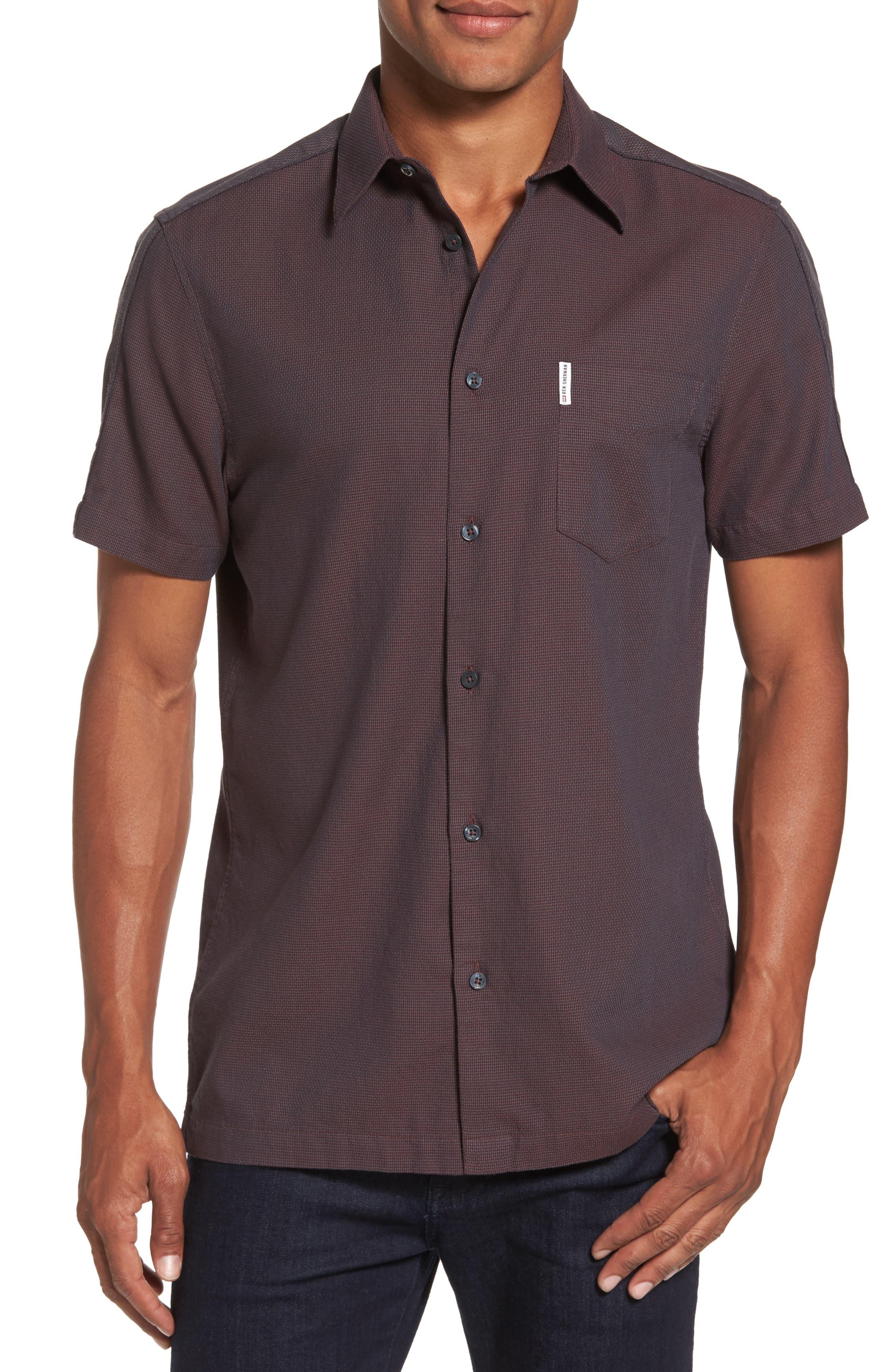 Dobby Short Sleeve Shirt,                         Main,                         color, Rust