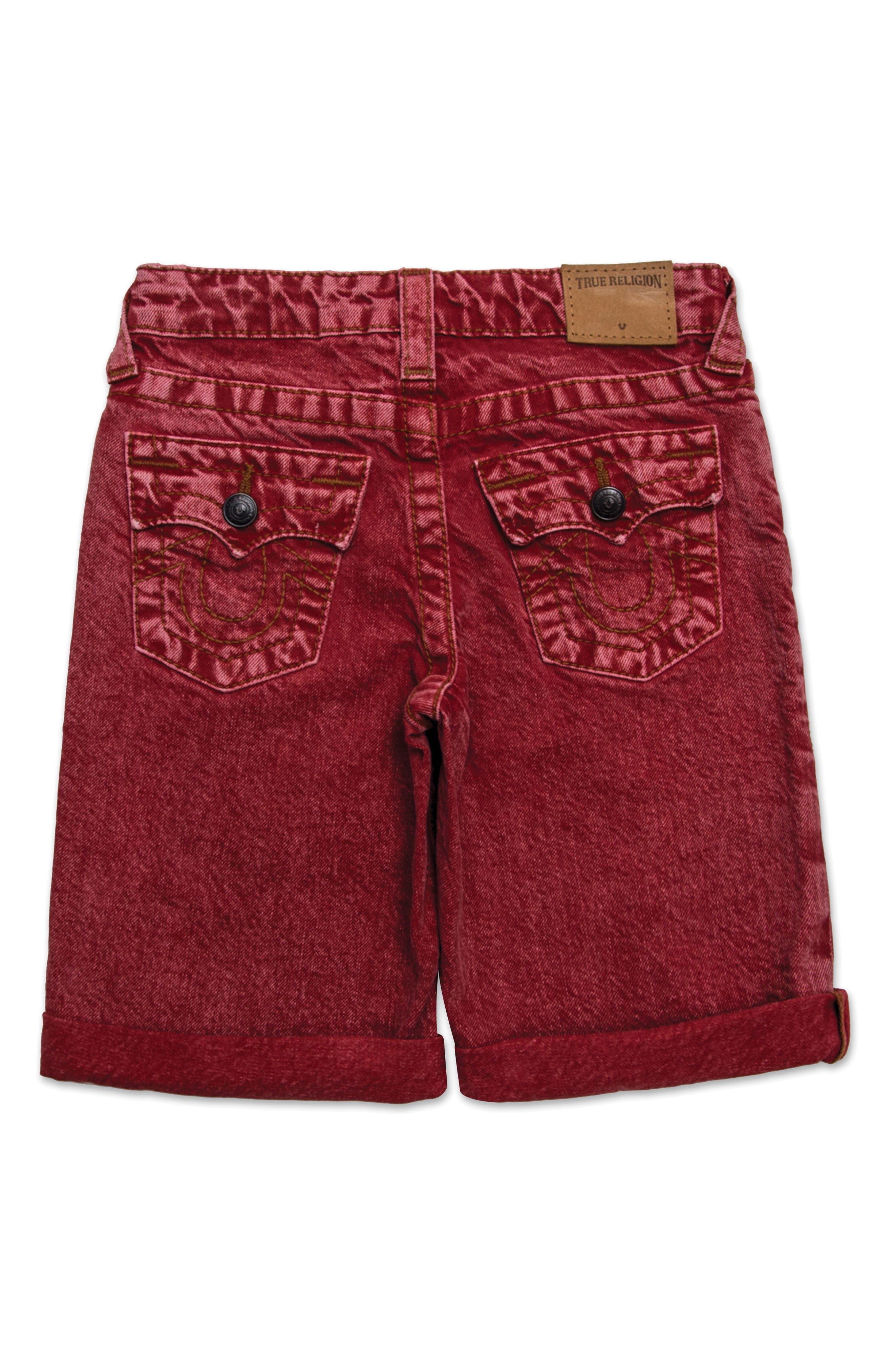 Geno Denim Shorts,                             Alternate thumbnail 2, color,                             Washed Red