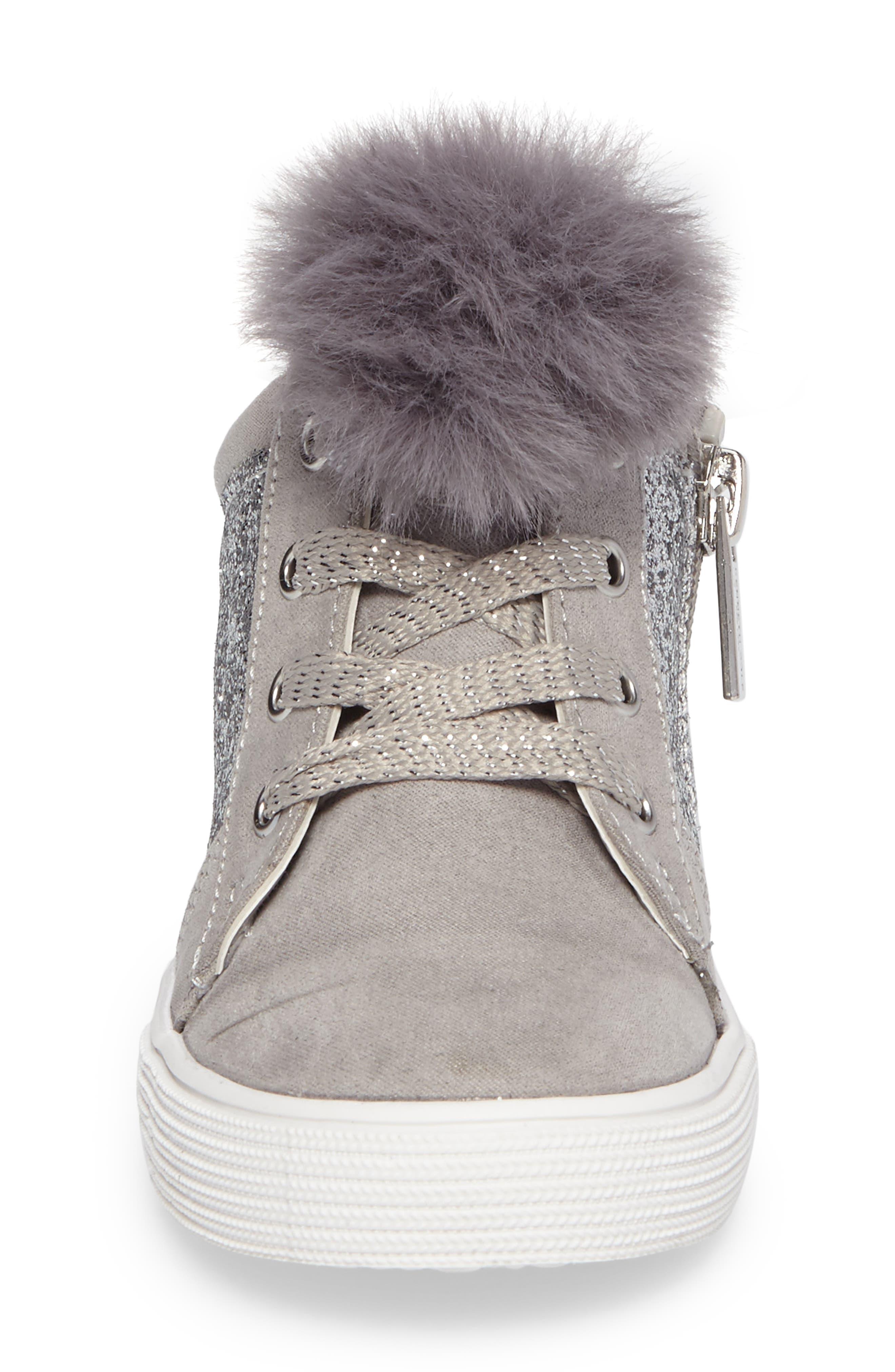 Kam Kid Faux Fur Glitter Sneaker,                             Alternate thumbnail 4, color,                             Light Grey