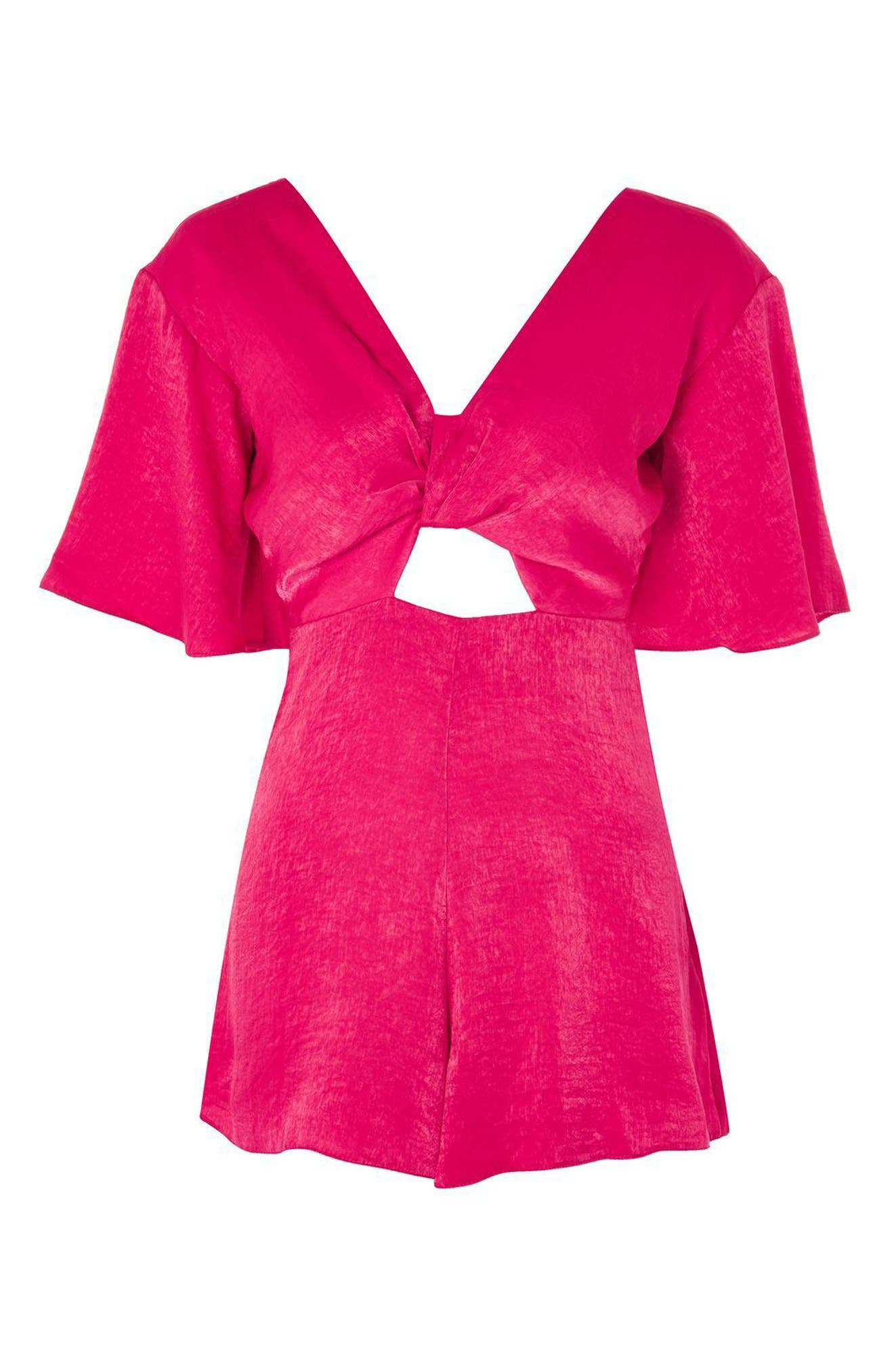 Knot Plunge Romper,                             Alternate thumbnail 3, color,                             Bright Pink