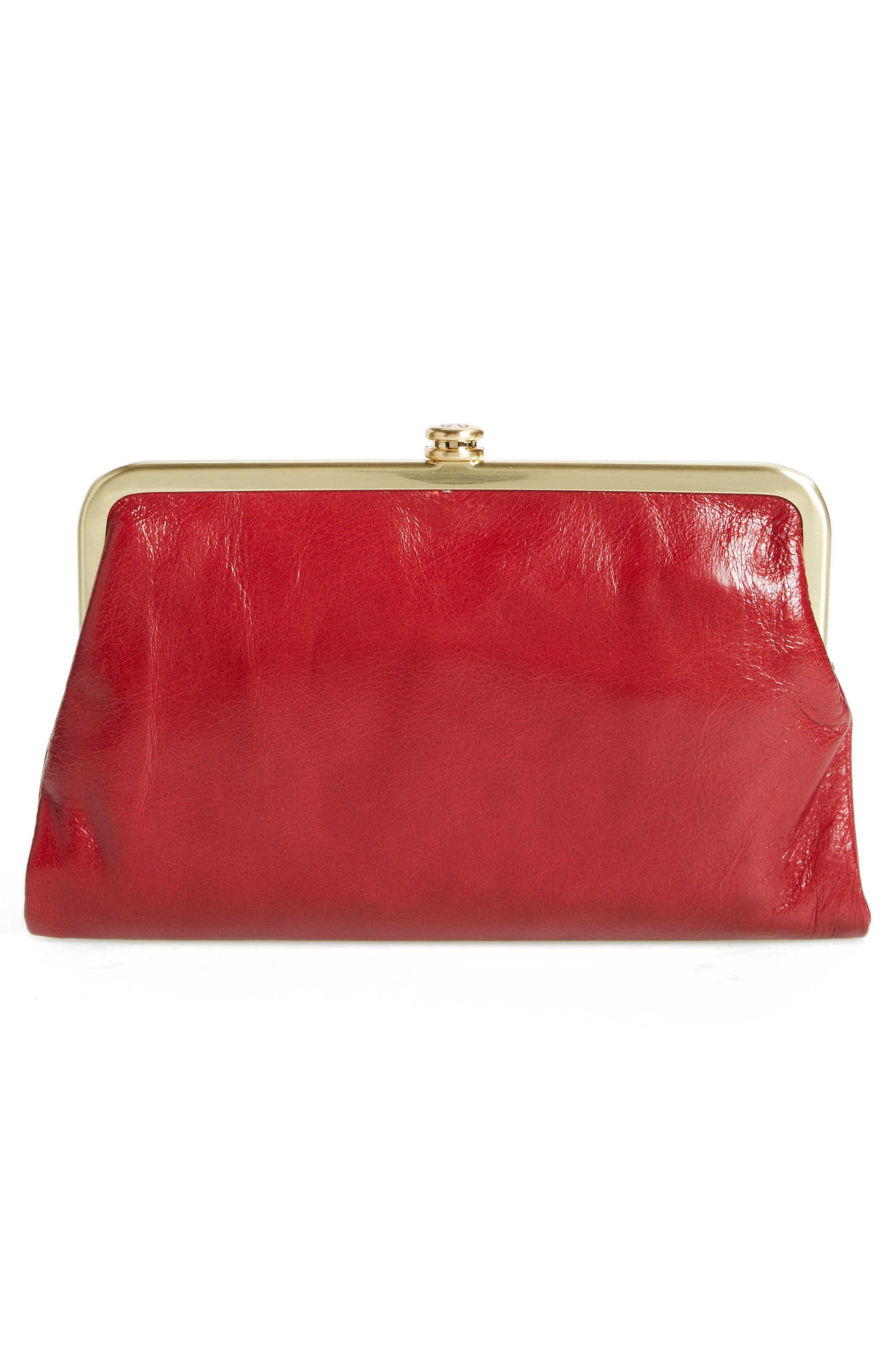 Suzette Calfskin Leather Wallet,                             Alternate thumbnail 3, color,                             Cardinal