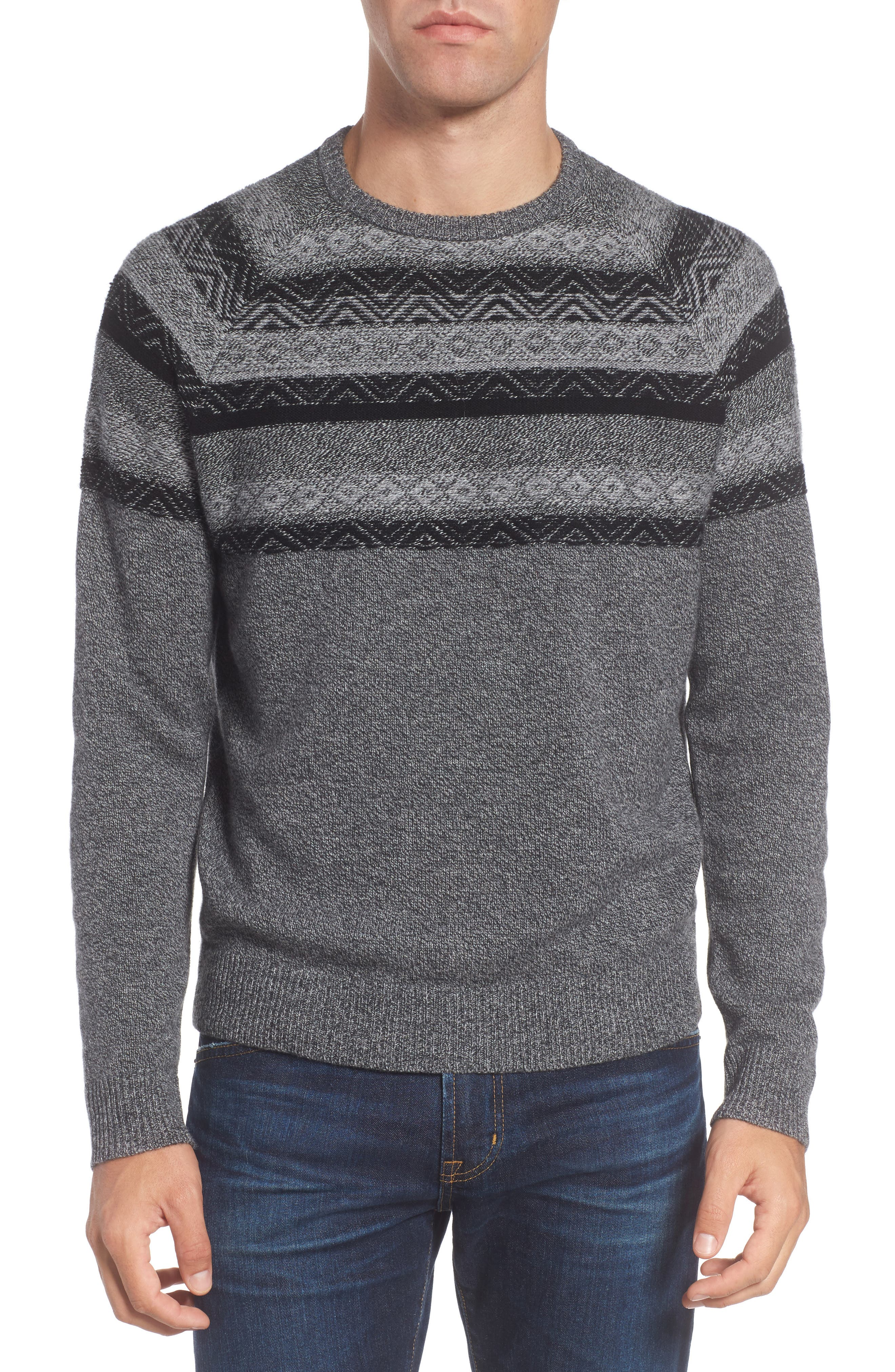 Pattern Wool & Cashmere Sweater,                             Main thumbnail 1, color,                             Grey Phantom